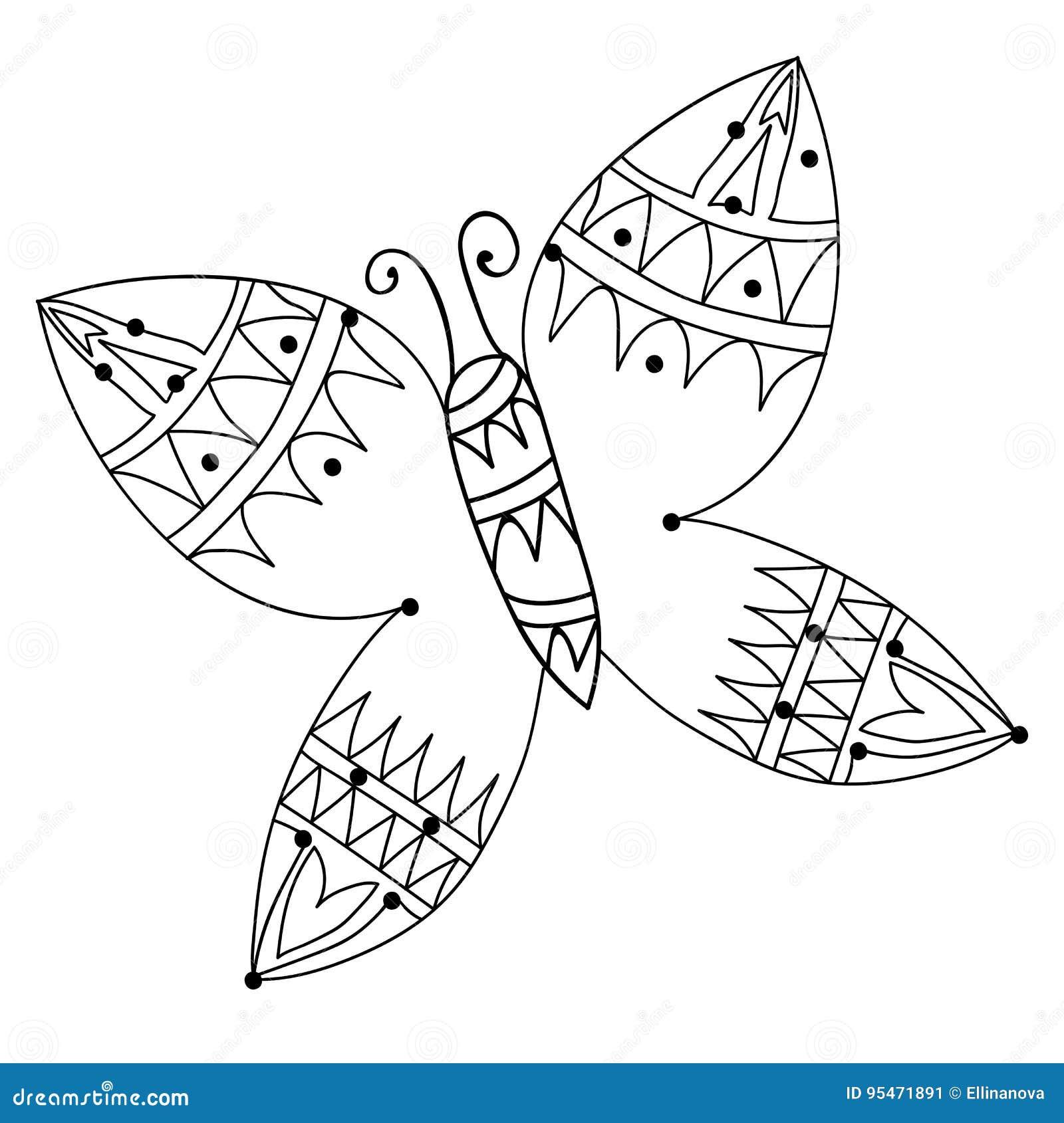 Línea Negra Mariposa Para El Tatuaje, Libro De Colorear Ilustración ...