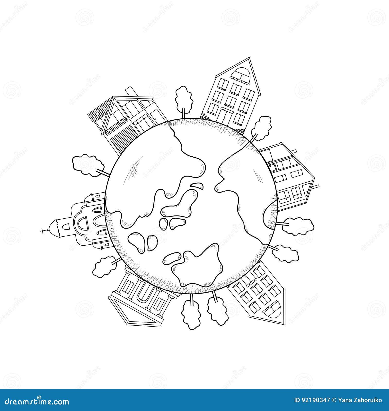 Línea negra símbolos - tierra, edificio, árboles
