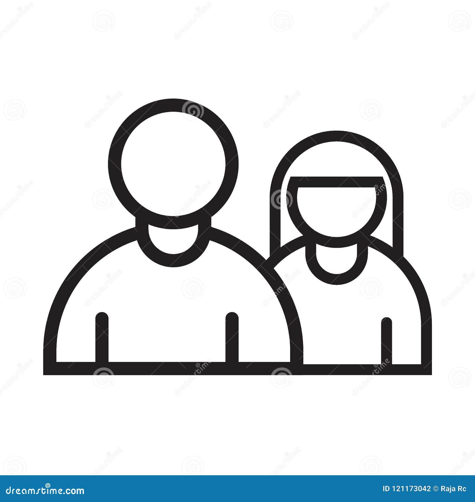 Línea negro del hombre y de la mujer del icono
