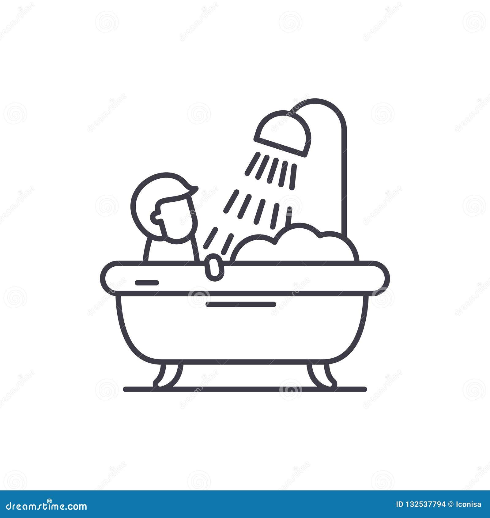 Línea para hombre concepto del cuarto de baño del icono Ejemplo linear del vector para hombre del cuarto de baño, símbolo, muestr