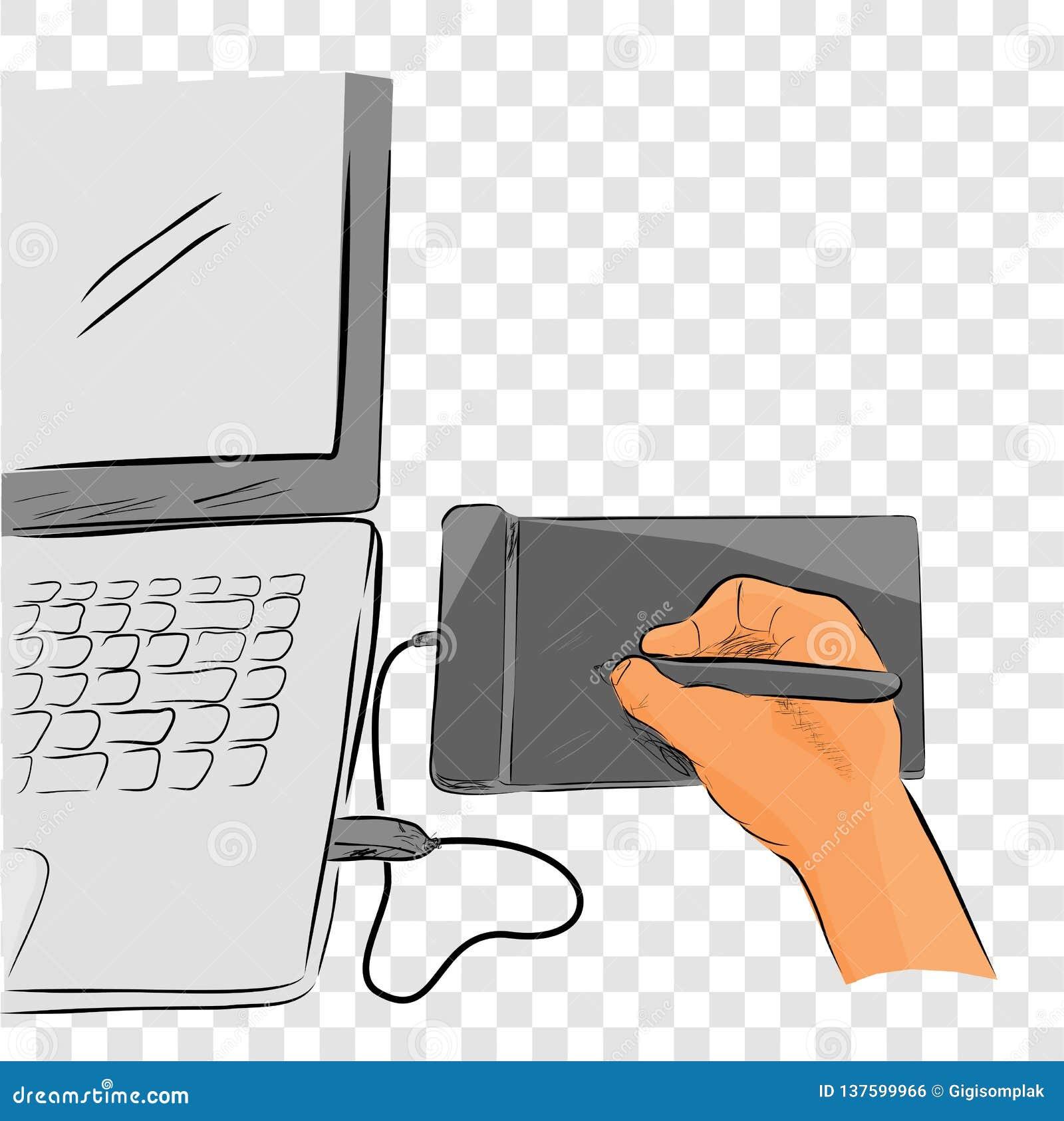 Línea plana arte del bosquejo del color del vector de artista Illustrator Creating Something que usa Pen Tab o la tableta gráfica