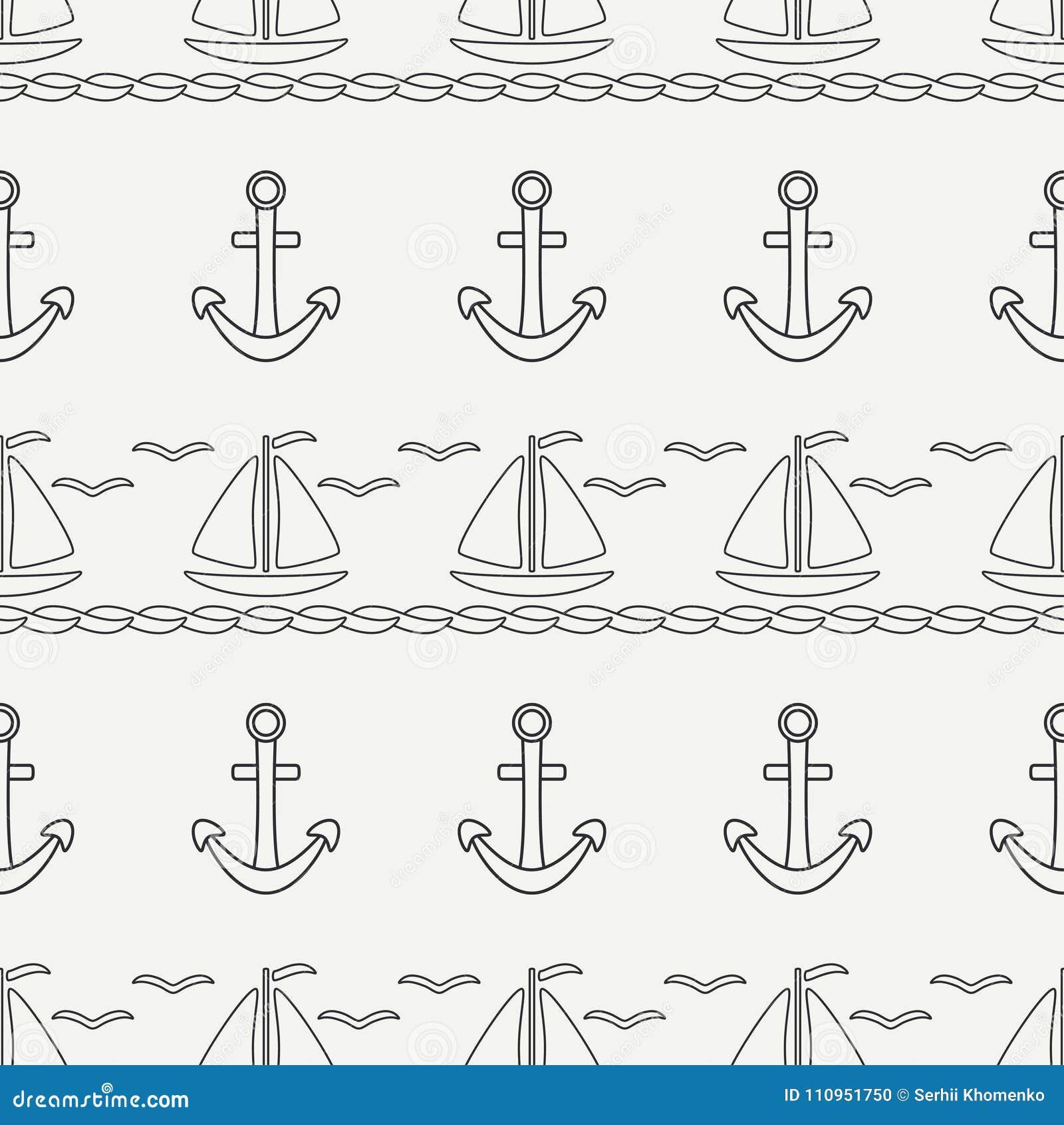 Línea plana barco inconsútil del océano del modelo del vector monocromático con la vela, ancla Estilo retro de la historieta rega