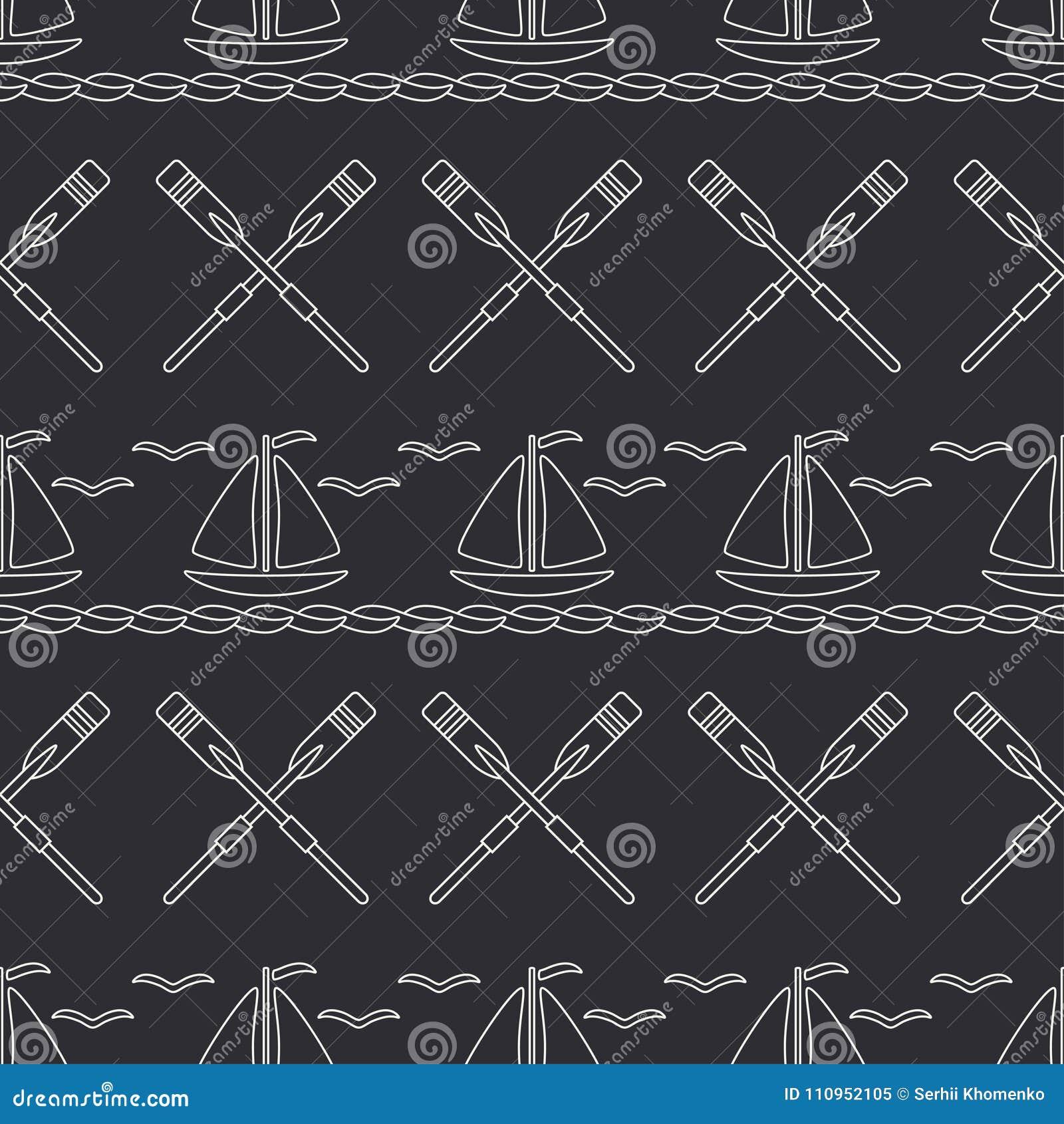 Línea plana barco inconsútil del océano del modelo del vector monocromático con la vela, paleta Estilo retro de la historieta reg