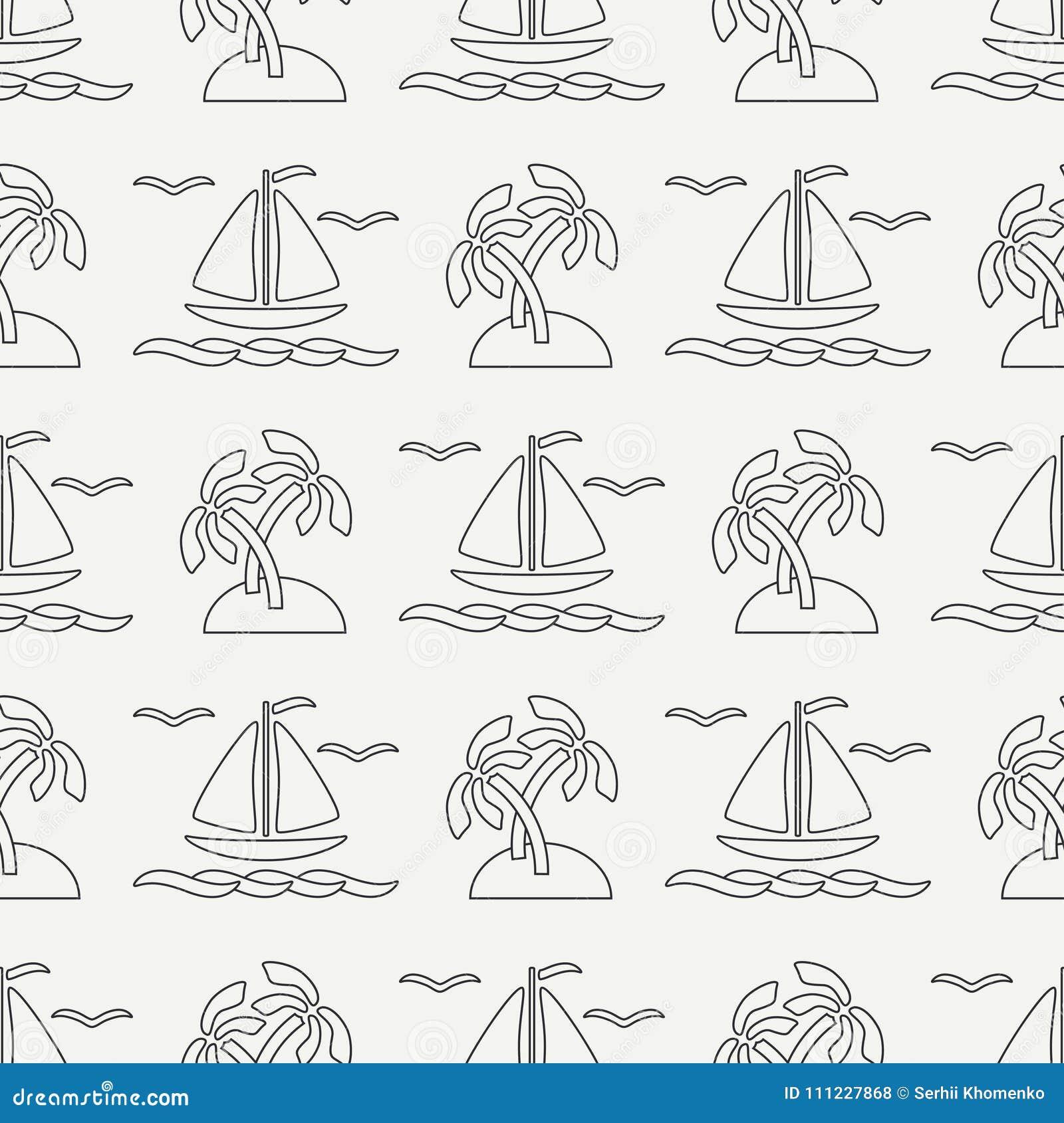 Línea plana barco inconsútil del océano del modelo del vector monocromático, vela, palma, isla Estilo retro de la historieta rega