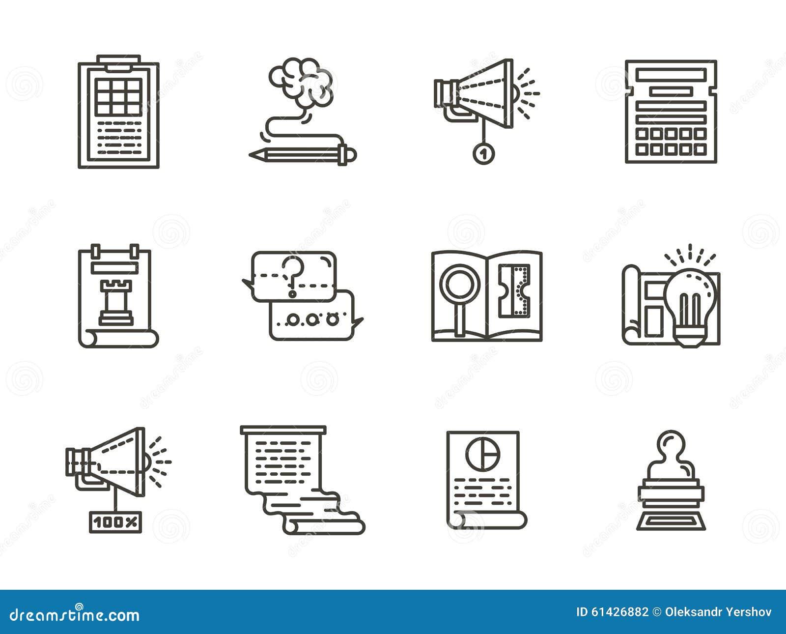 Línea plana colección de SMM de los iconos