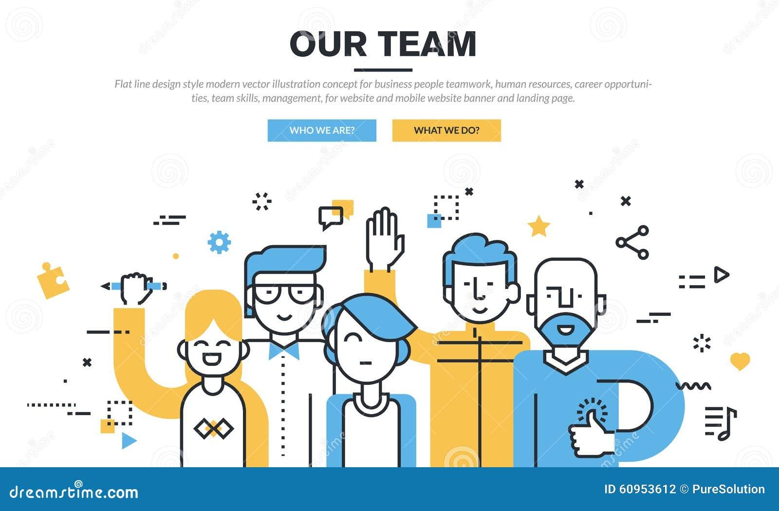 Línea plana concepto moderno del ejemplo del vector del estilo del diseño para los hombres de negocios del trabajo en equipo