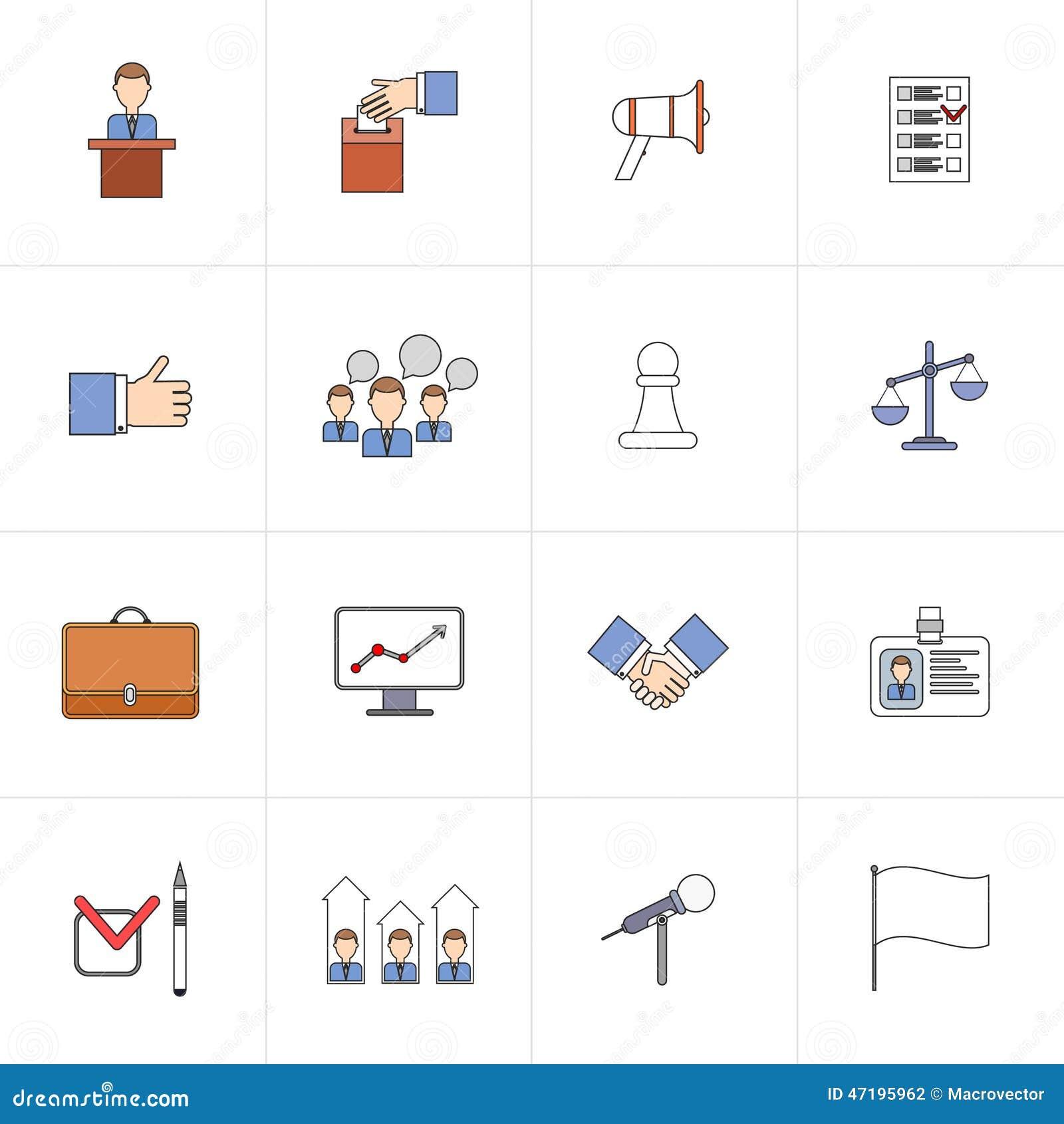 Línea plana fijada iconos de las elecciones