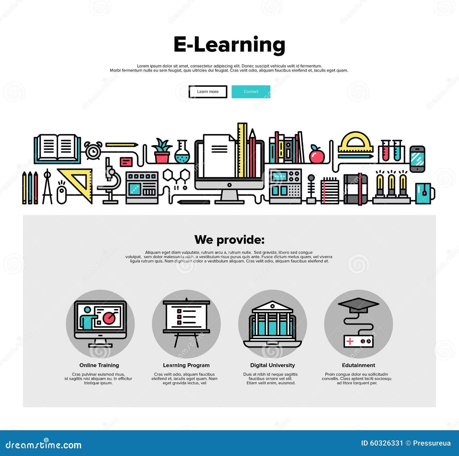 Línea plana gráficos del aprendizaje electrónico del web