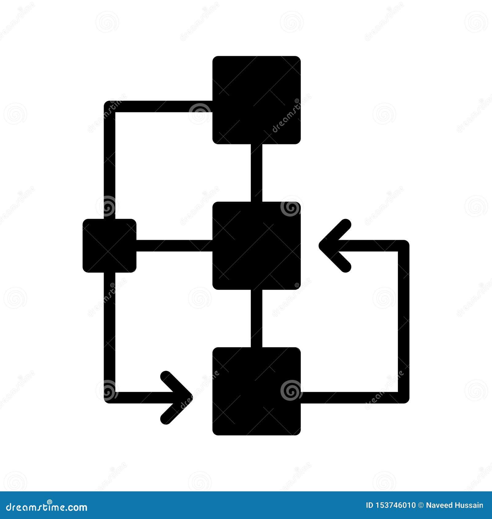 Línea plana icono del glyph del organigrama del vector
