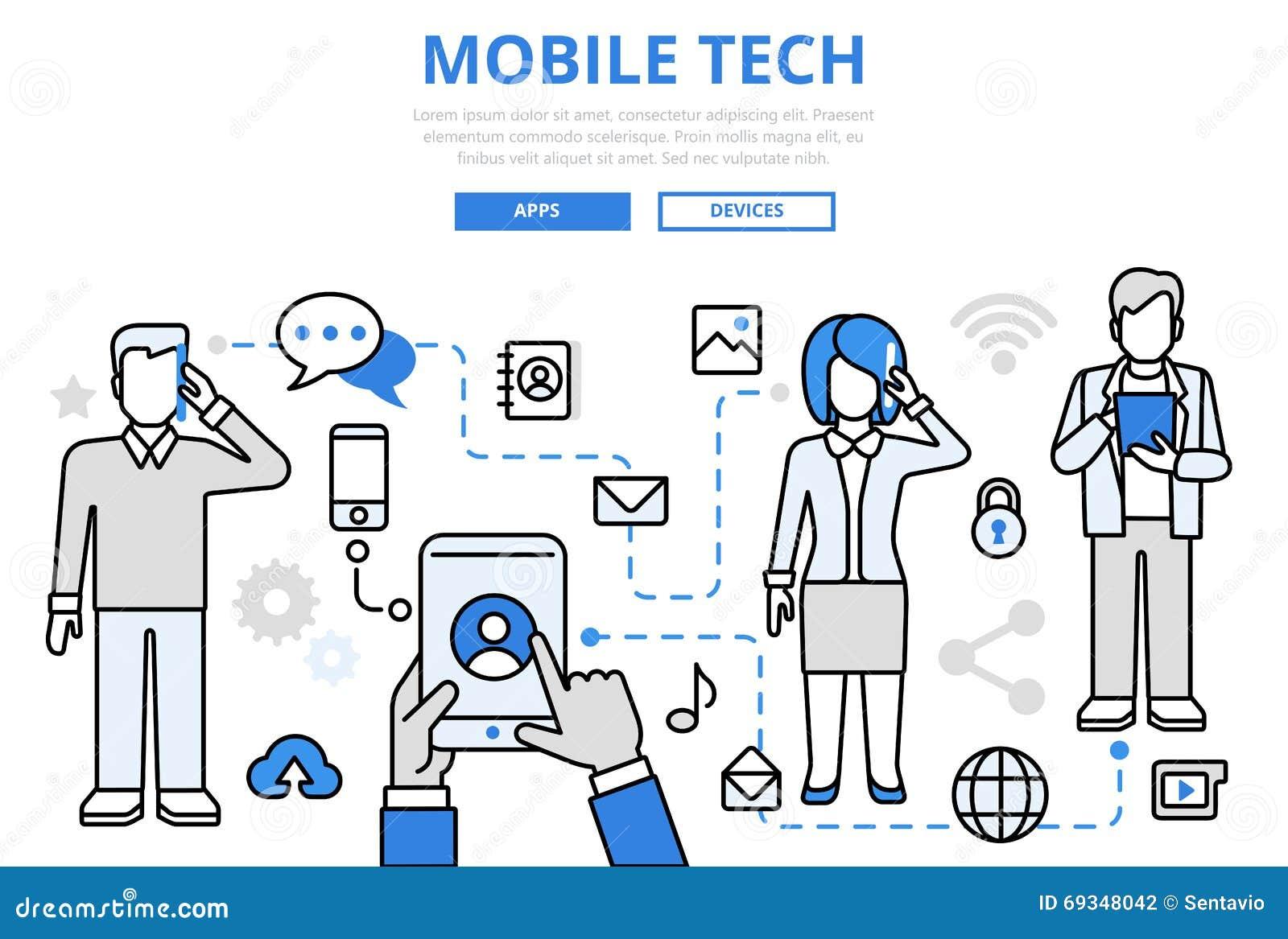 Línea plana iconos de la tecnología del concepto móvil de la comunicación del vector del arte