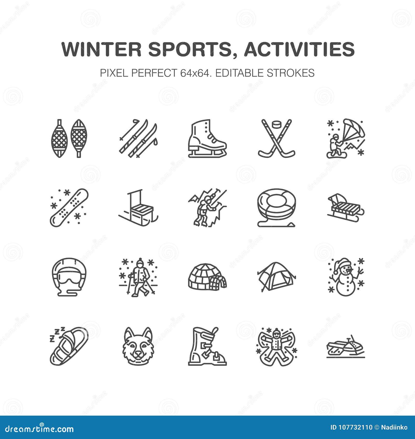 Línea plana iconos del vector de los deportes de invierno Snowboard del equipo de las actividades al aire libre, hockey, trineo,