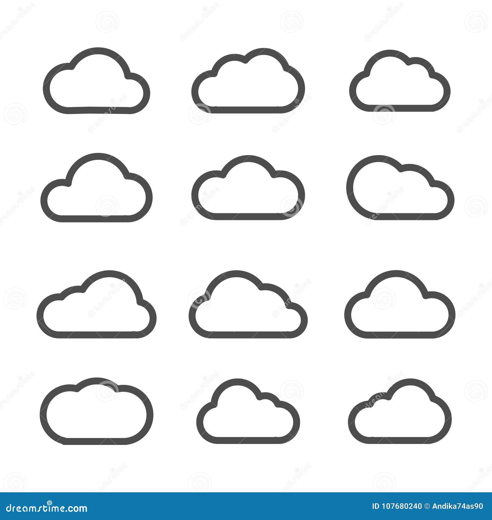 Línea plana negro determinado de los iconos de la nube en el fondo blanco