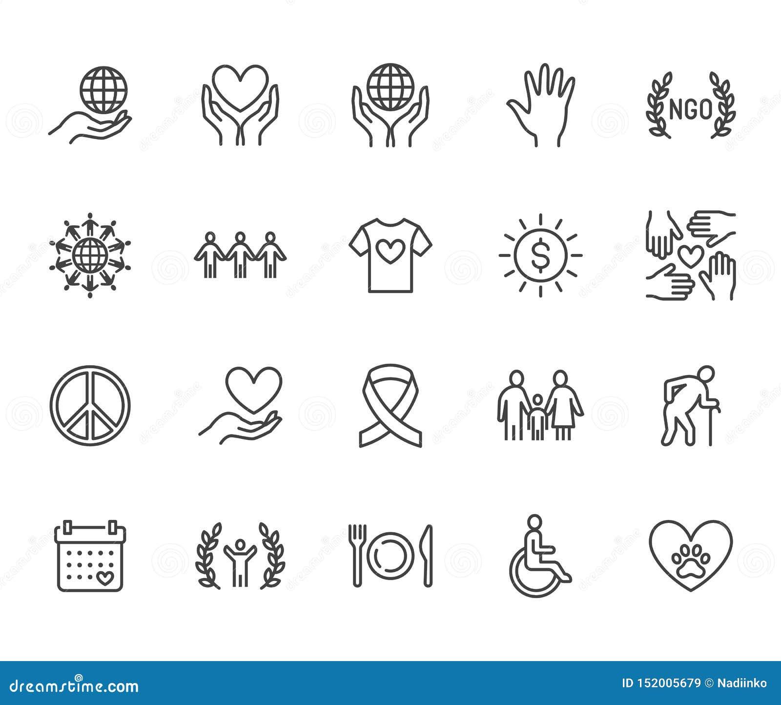 Línea plana sistema de la caridad de los iconos Donación, organización sin ánimo de lucro, ONG, dando ejemplos del vector de la a