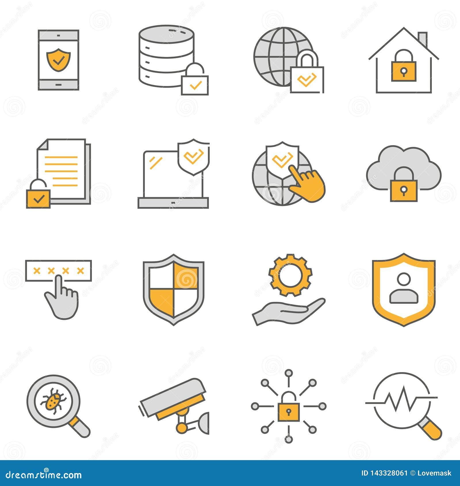 Línea plana sistema de la seguridad del icono Ilustraci?n del vector Movimiento Editable
