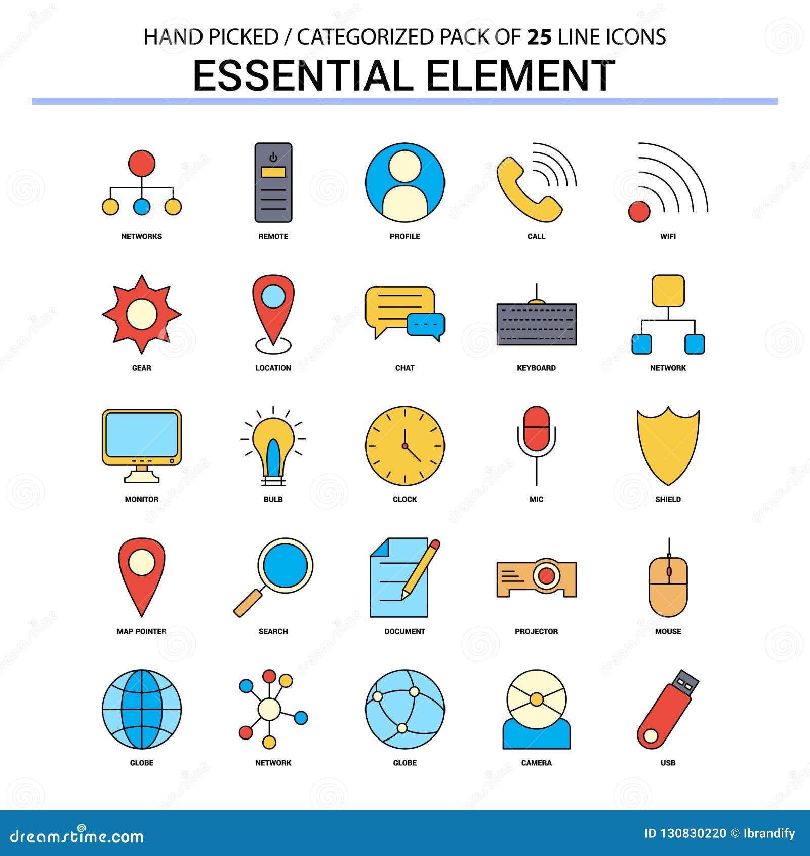 Línea plana sistema del icono - iconos De del elemento esencial del concepto del negocio