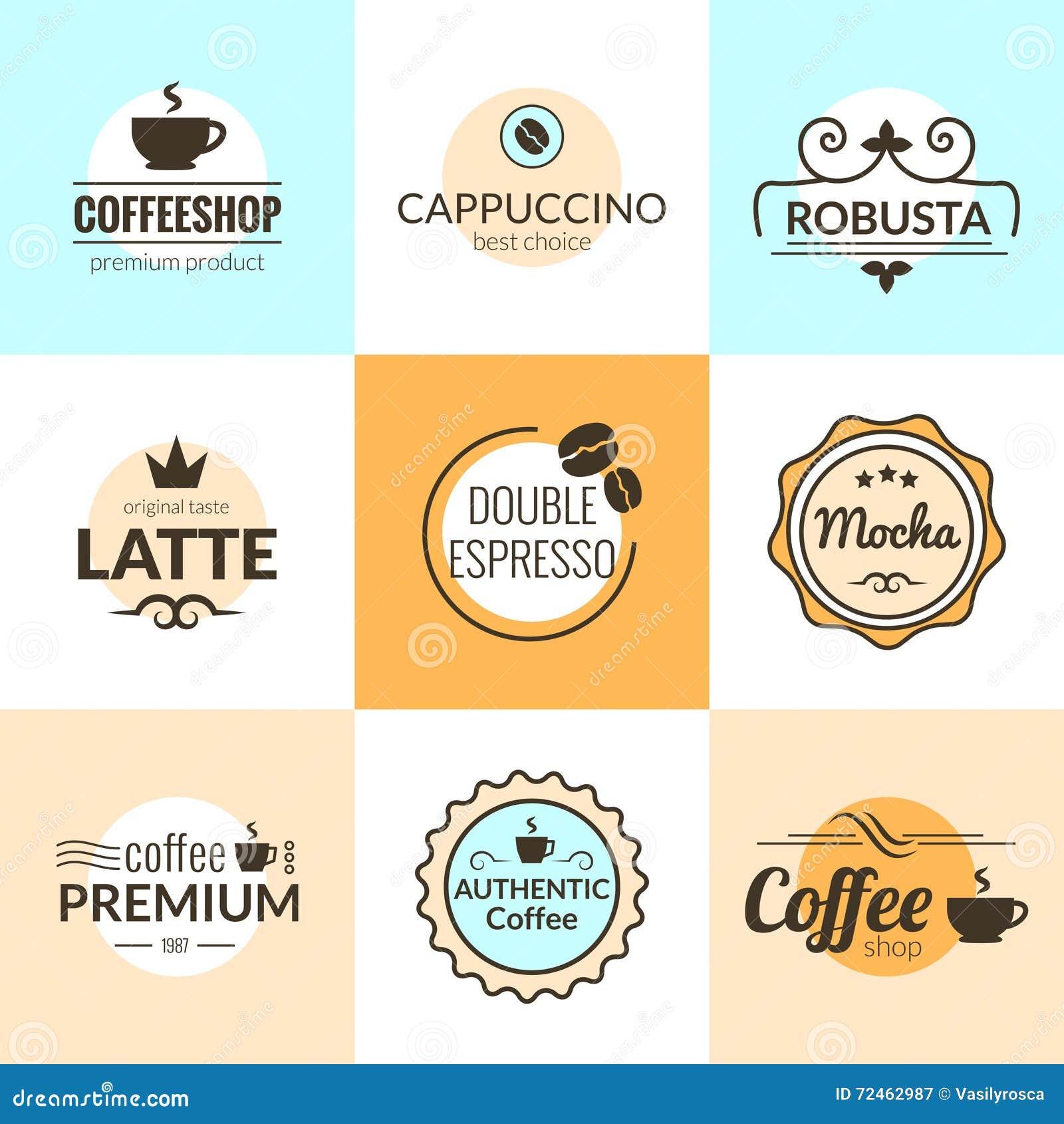 Línea plana tipografía del vector del diseño del logotipo de las etiquetas del café del vintage