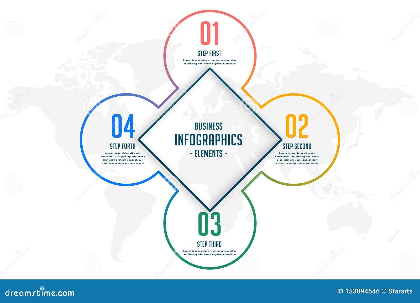Línea plantilla infographic de cuatro pasos del estilo