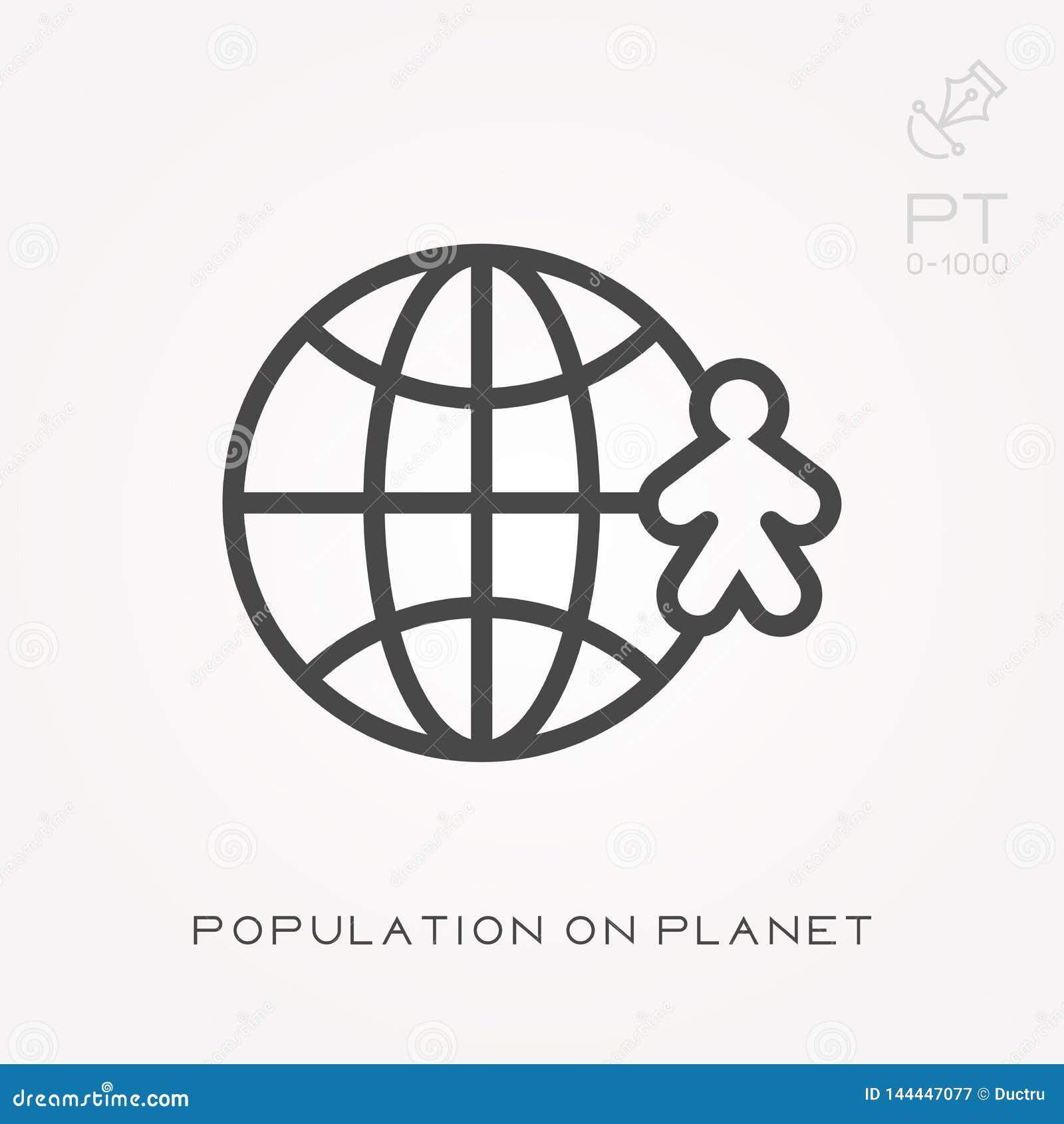 Línea población del icono en el planeta