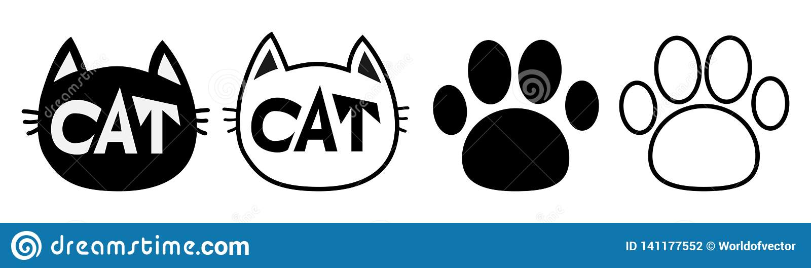 Línea principal del sistema del icono de la silueta del contorno de la cara del gato negro pictogram Pista vacía de la impresión