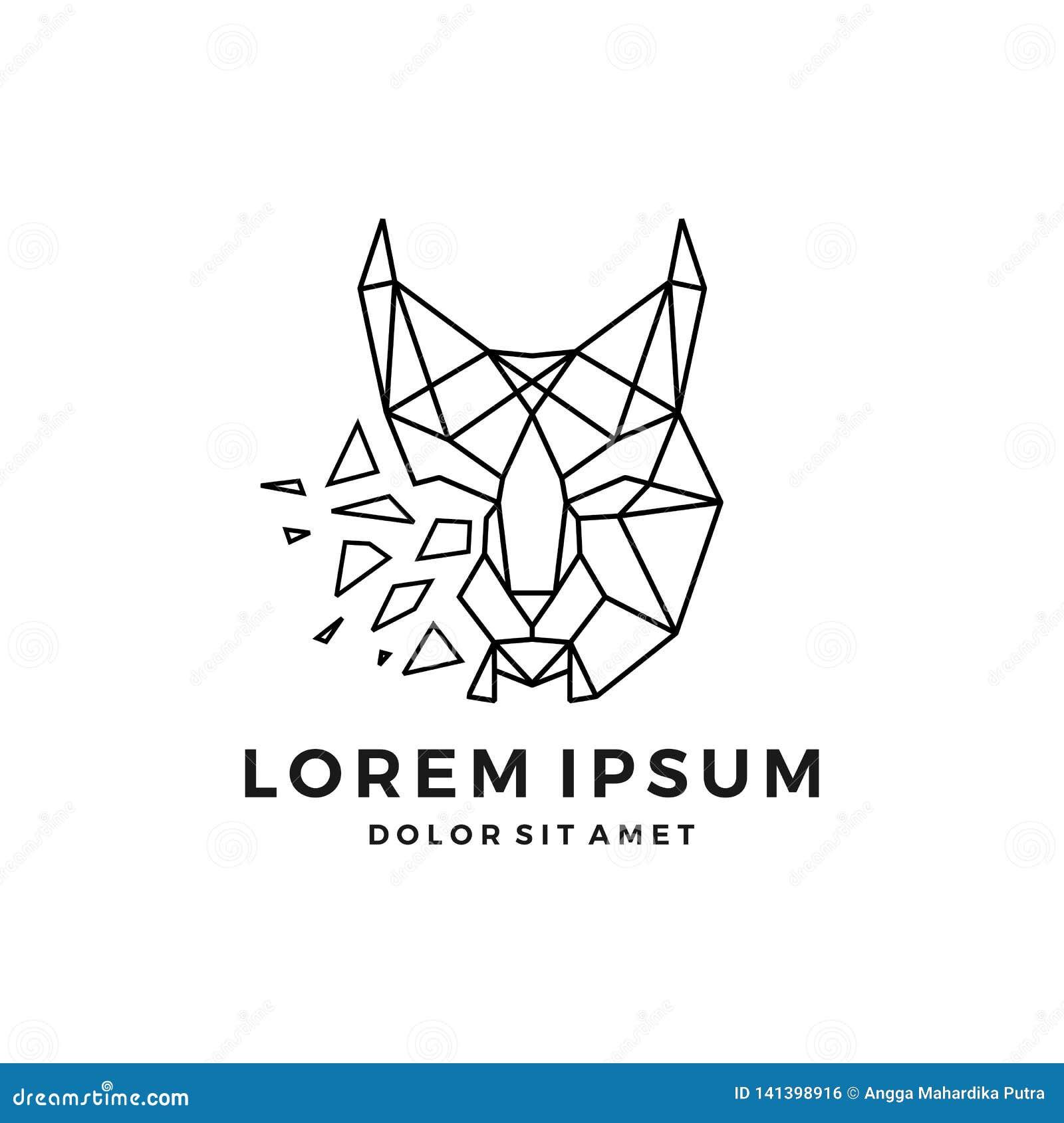 Línea principal transferencia directa del icono del vector del logotipo del lince geométrico del esquema del arte