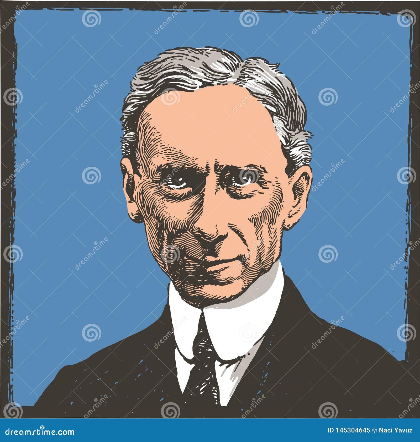 L?nea retrato de Bertrand Russell del arte