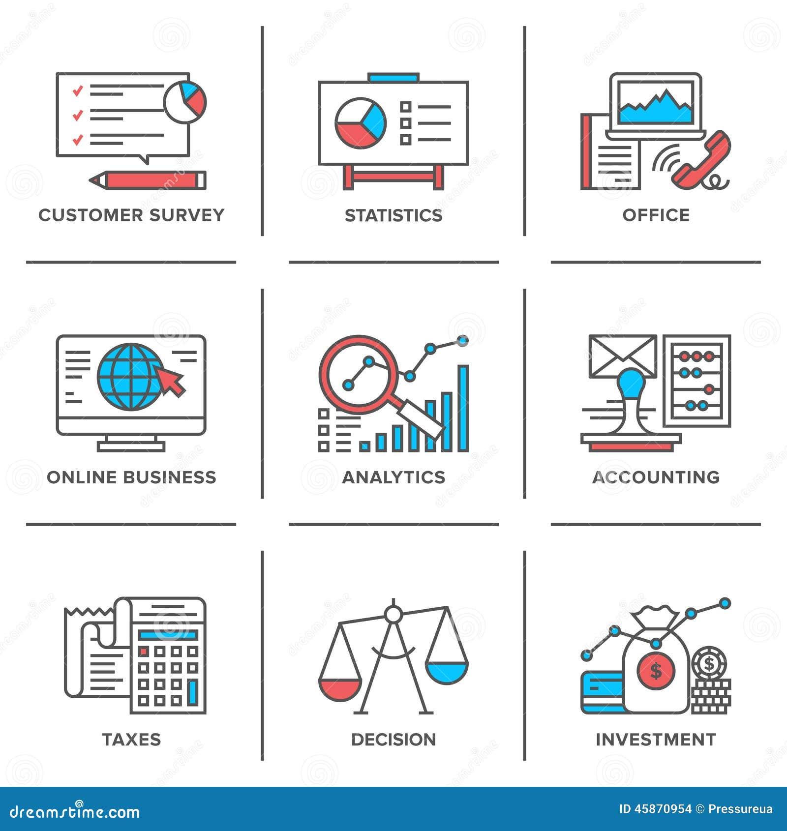 Línea rutinaria iconos del negocio y de las finanzas fijados