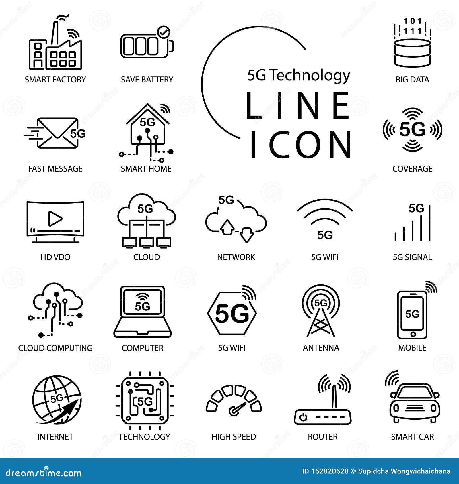 Línea simple icono sobre 5G, Internet de la tecnología del thingsIOT Incluya el hogar elegante, wifi, red, nube y más