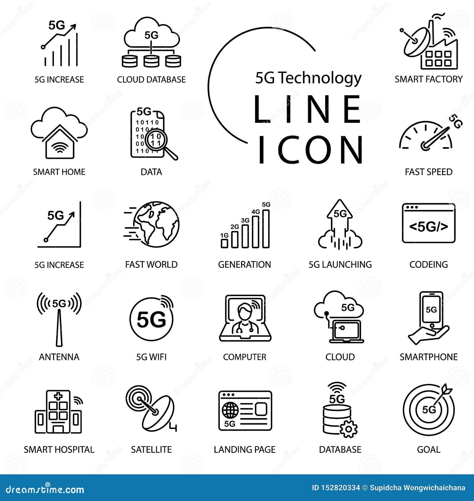 Línea simple icono sobre 5G, Internet de la tecnología del thingsIOT Incluya la fábrica elegante, wifi, red, nube y más