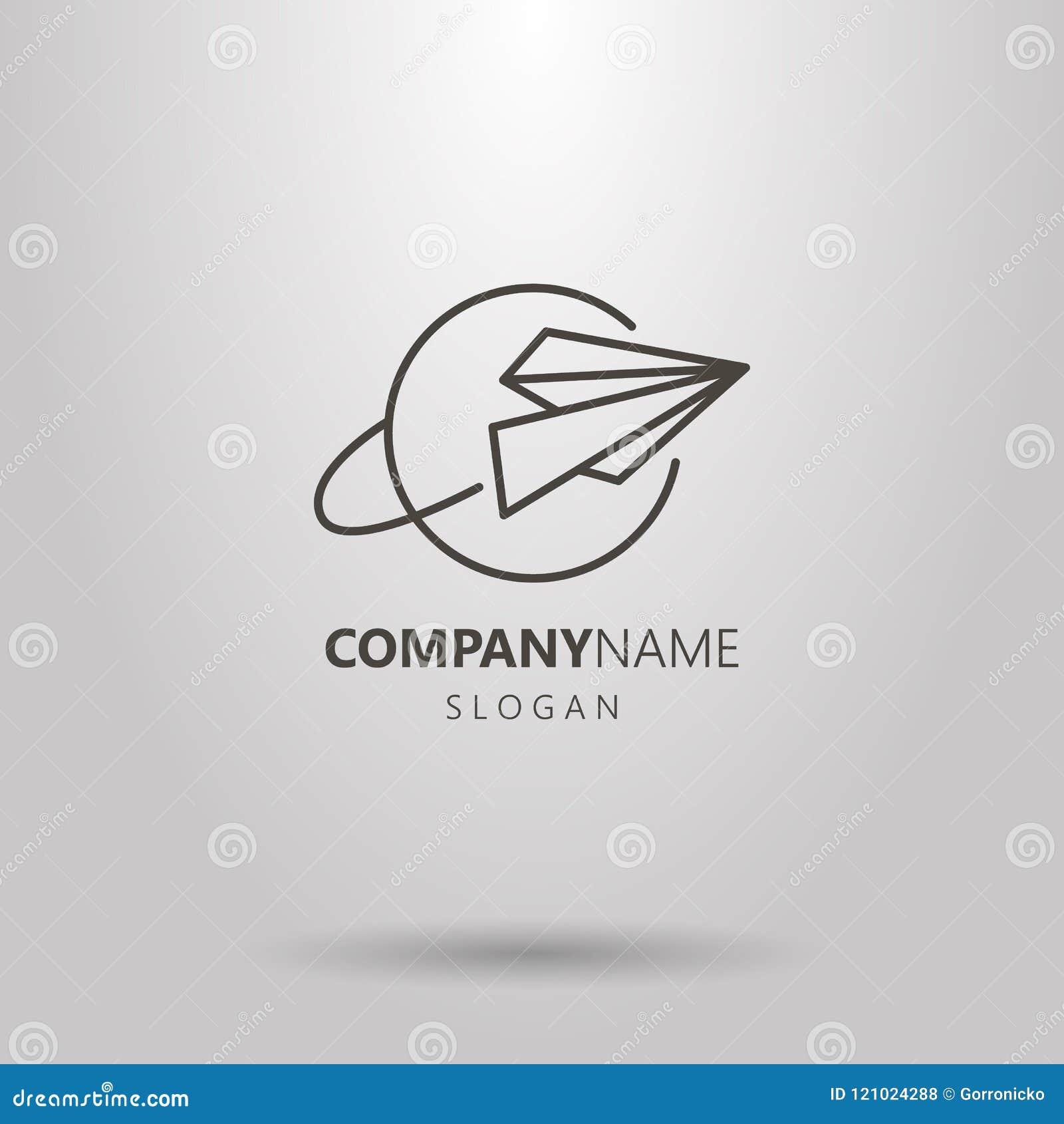 Línea simple logotipo del vector del arte del aeroplano de papel y del planeta