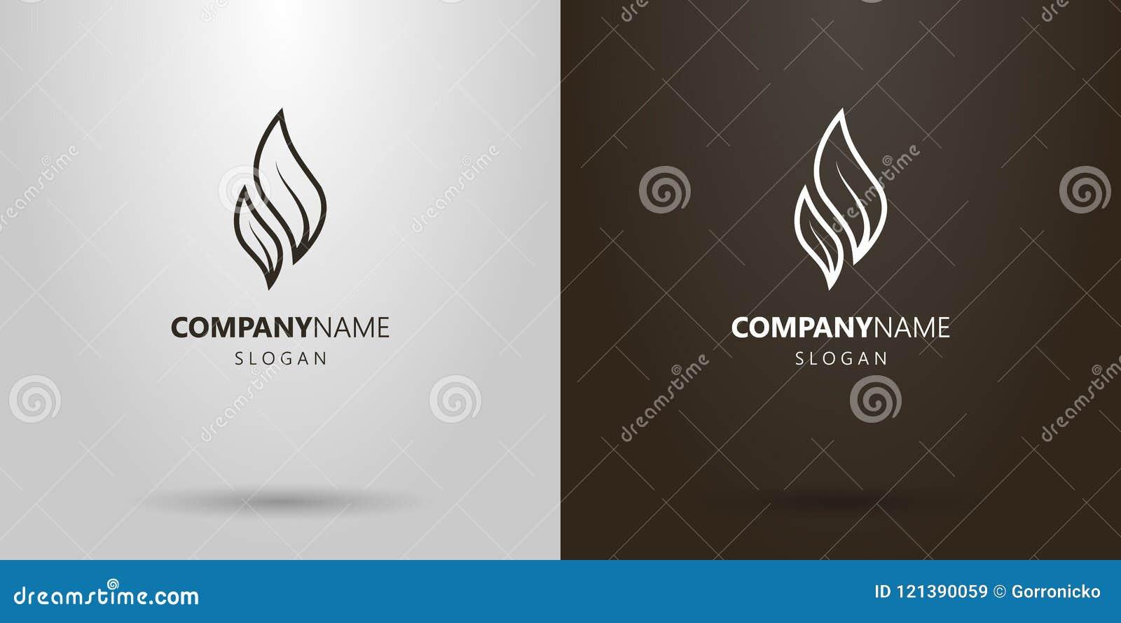 Línea simple logotipo del vector del arte de dos hojas de té