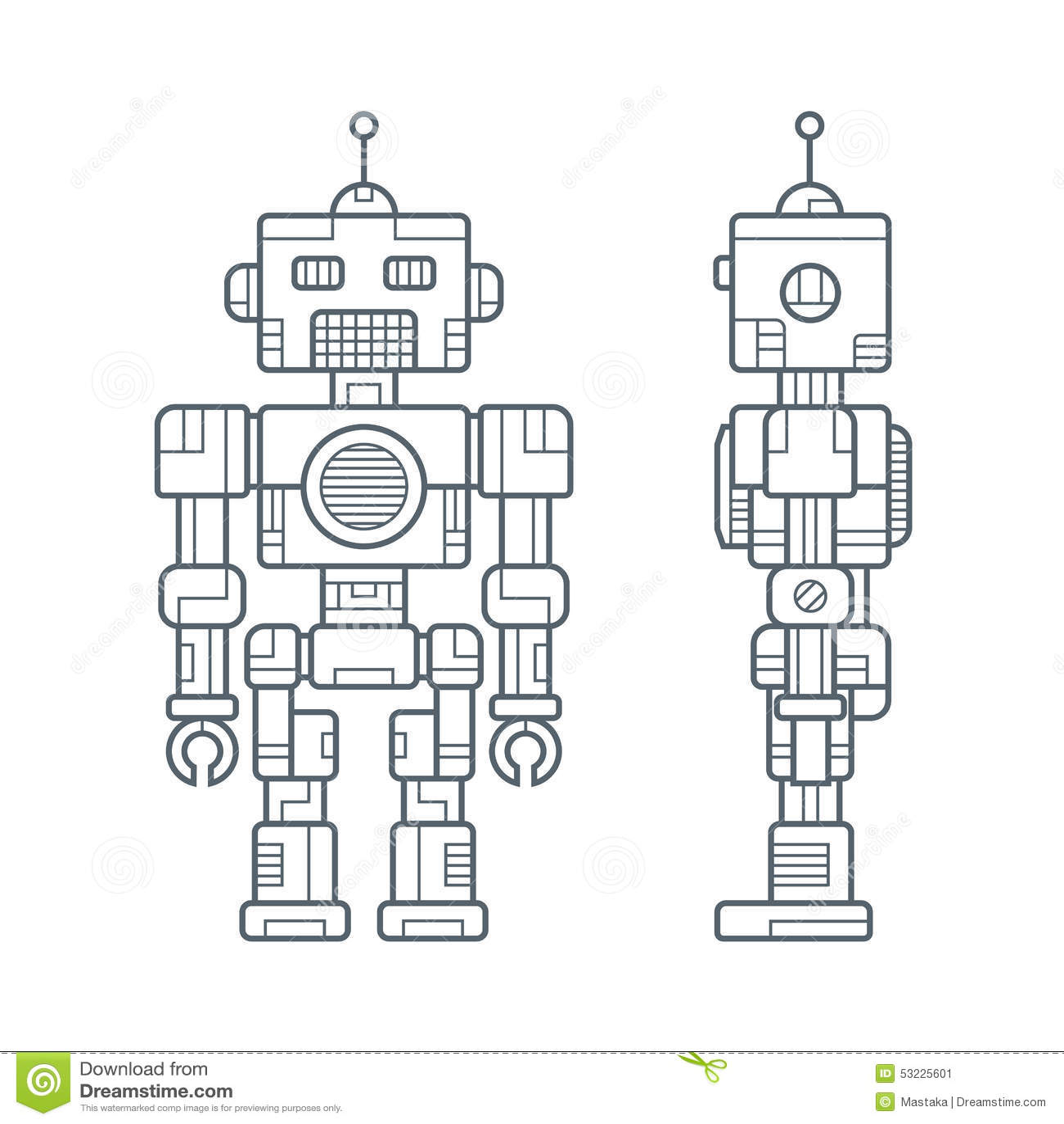 Línea simple robot retro