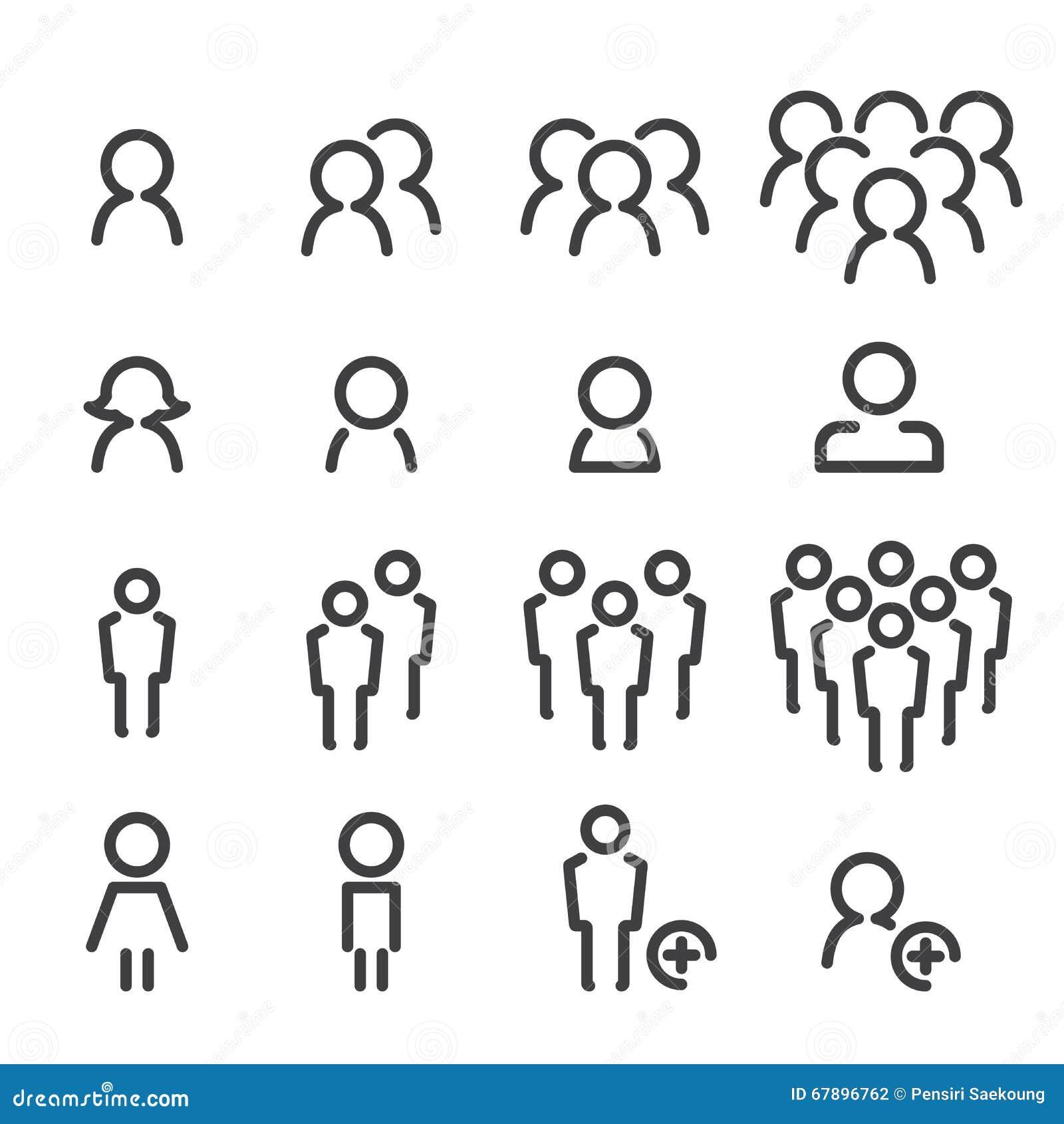 Línea sistema de la gente del icono