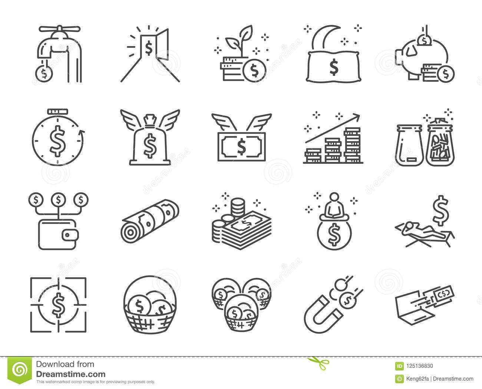 Línea sistema de la renta pasiva del icono Incluyó los iconos como la libertad, costos, tarifa, la inversión y más financieros