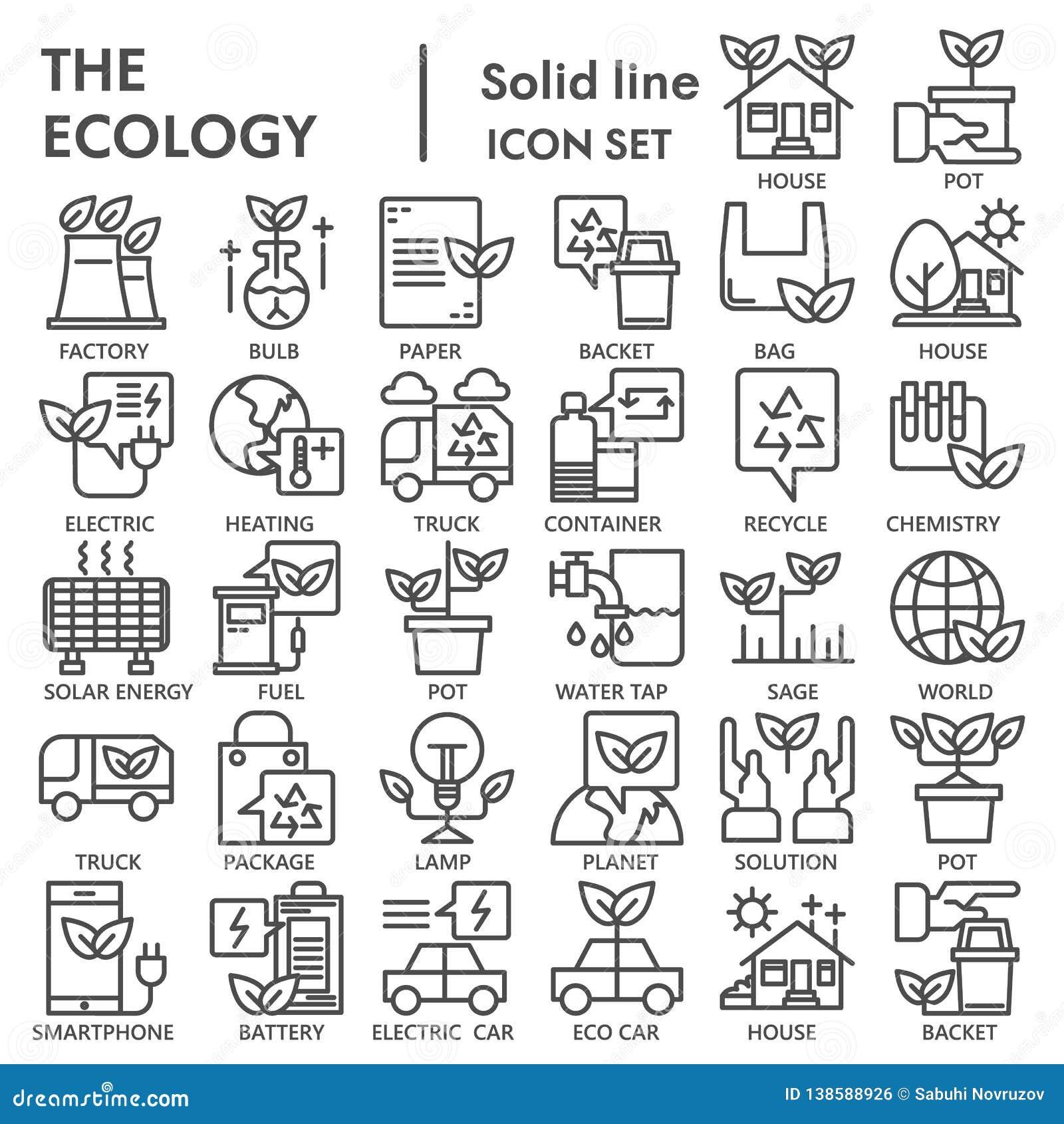 Línea sistema del icono, símbolos colección, bosquejos del vector, ejemplos del logotipo, pictogramas lineares de la ecología del