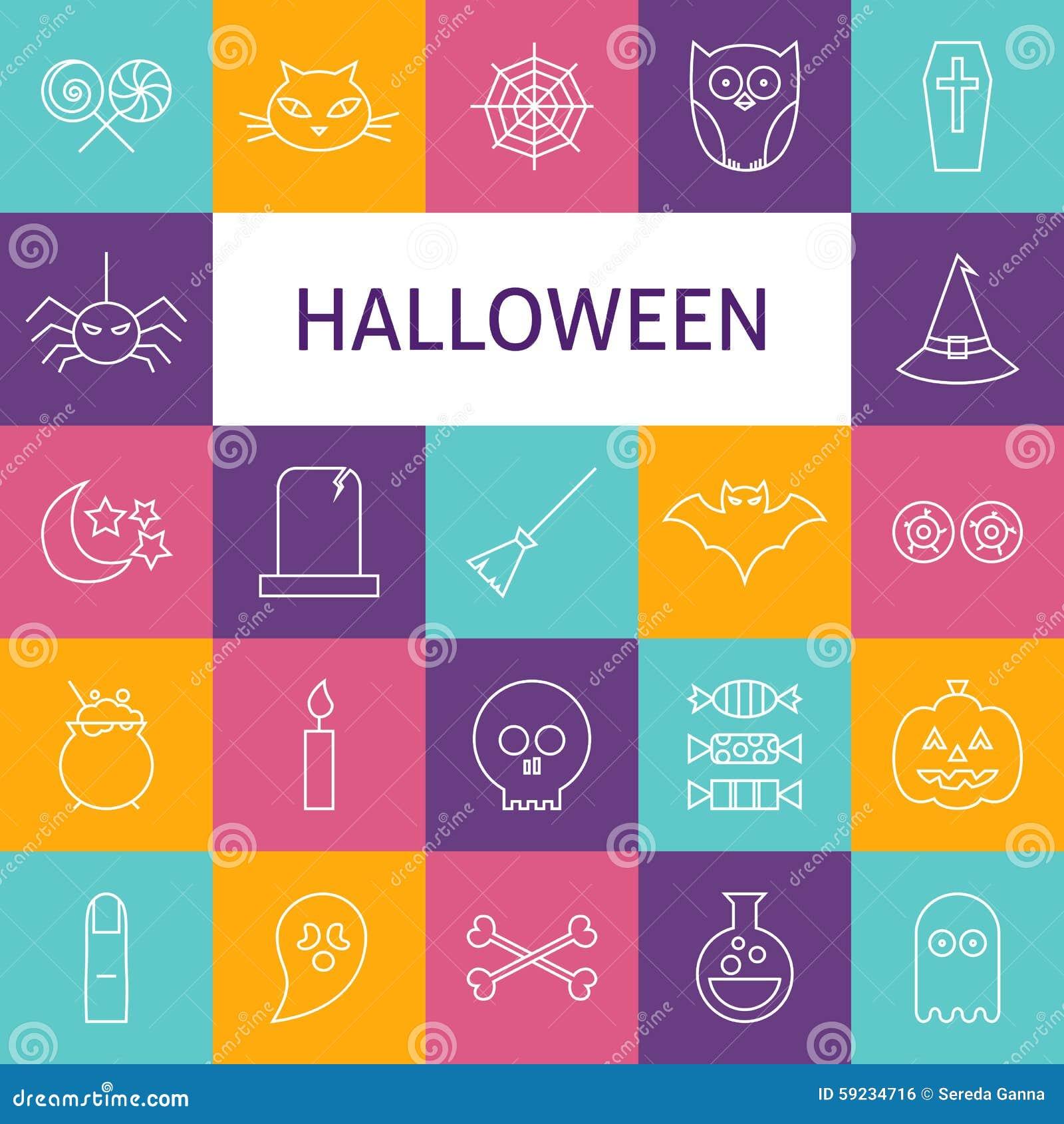 Download Línea Sistema Del Vector De Art Modern Halloween Holiday Icons Ilustración del Vector - Ilustración de celebración, contorno: 59234716