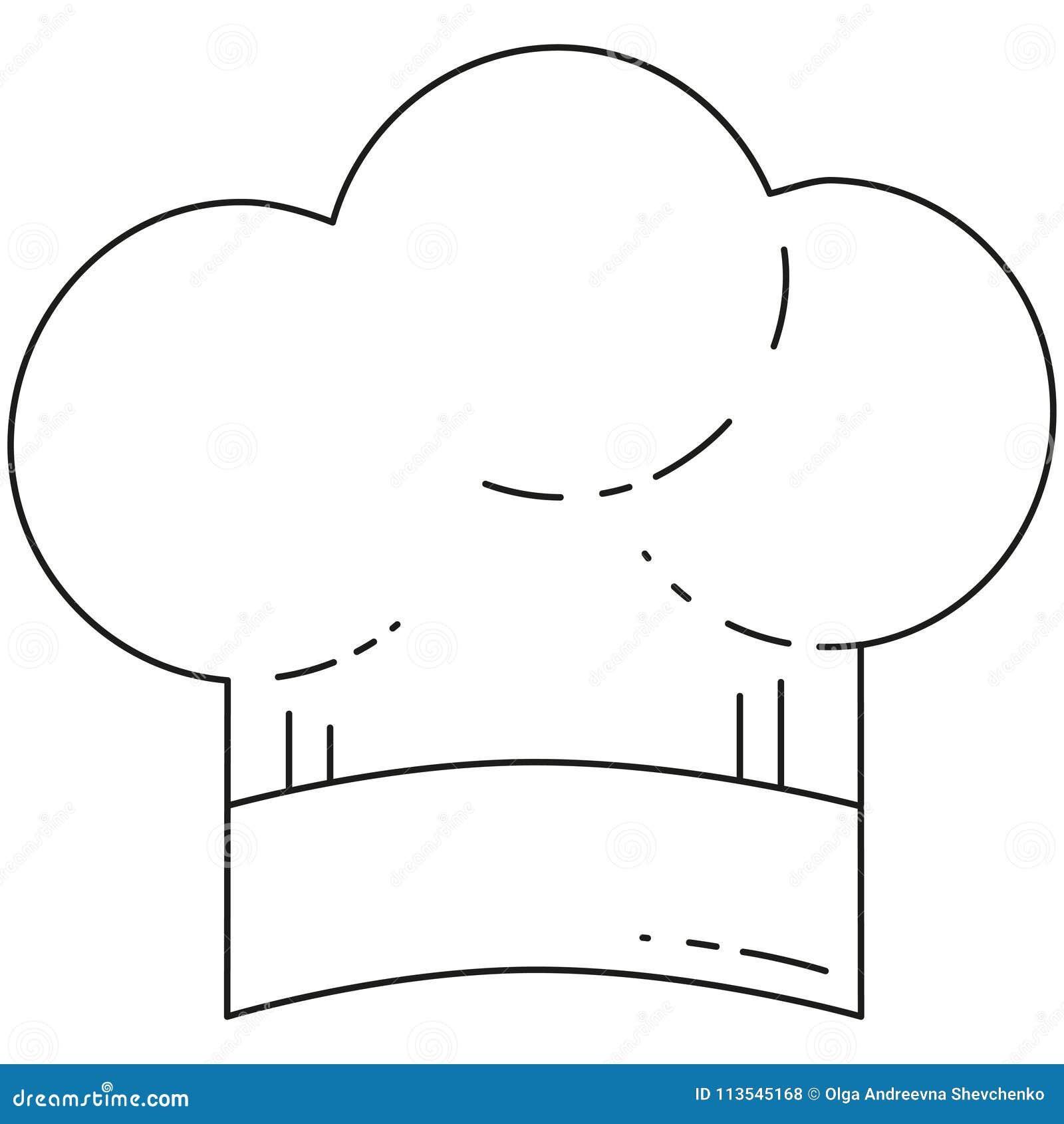 Línea sombrero blanco y negro del cocinero del arte Cocinar el ejemplo del  vector para la etiqueta engomada de la bandera del certificado del carte  cadeaux 81f706e2a04