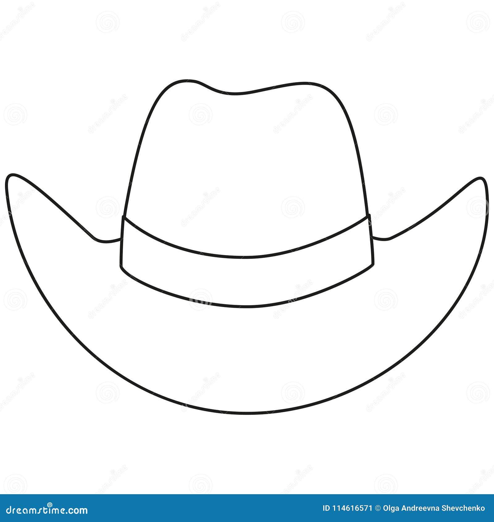 Línea sombrero de vaquero blanco y negro del arte Ejemplo del oeste salvaje  del vector para la etiqueta engomada del certificado del carte cadeaux 18b4f100907