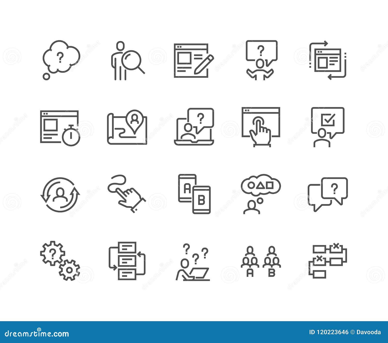 Línea UI e iconos de UX