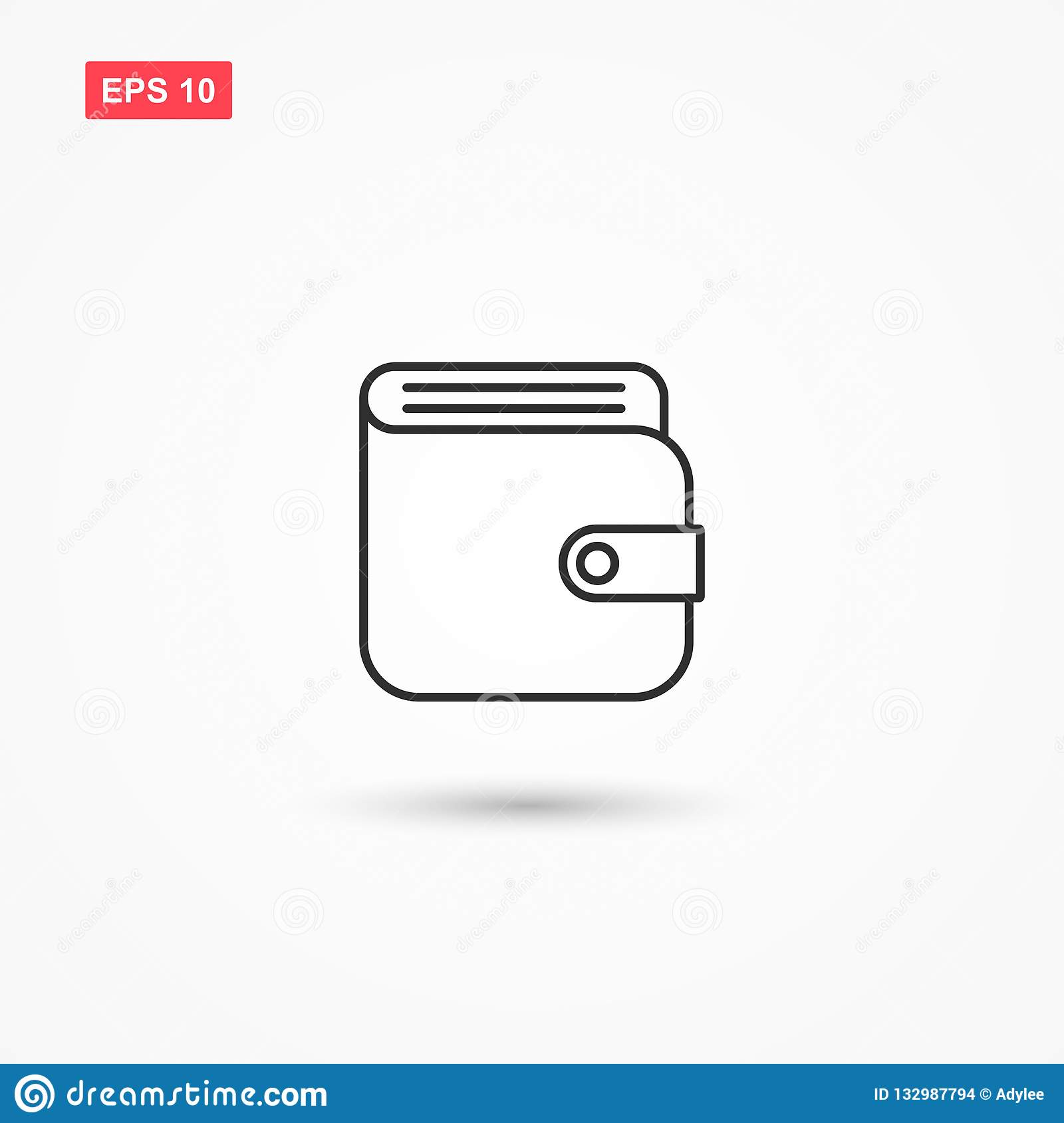 Línea vector 2 de la cartera del icono