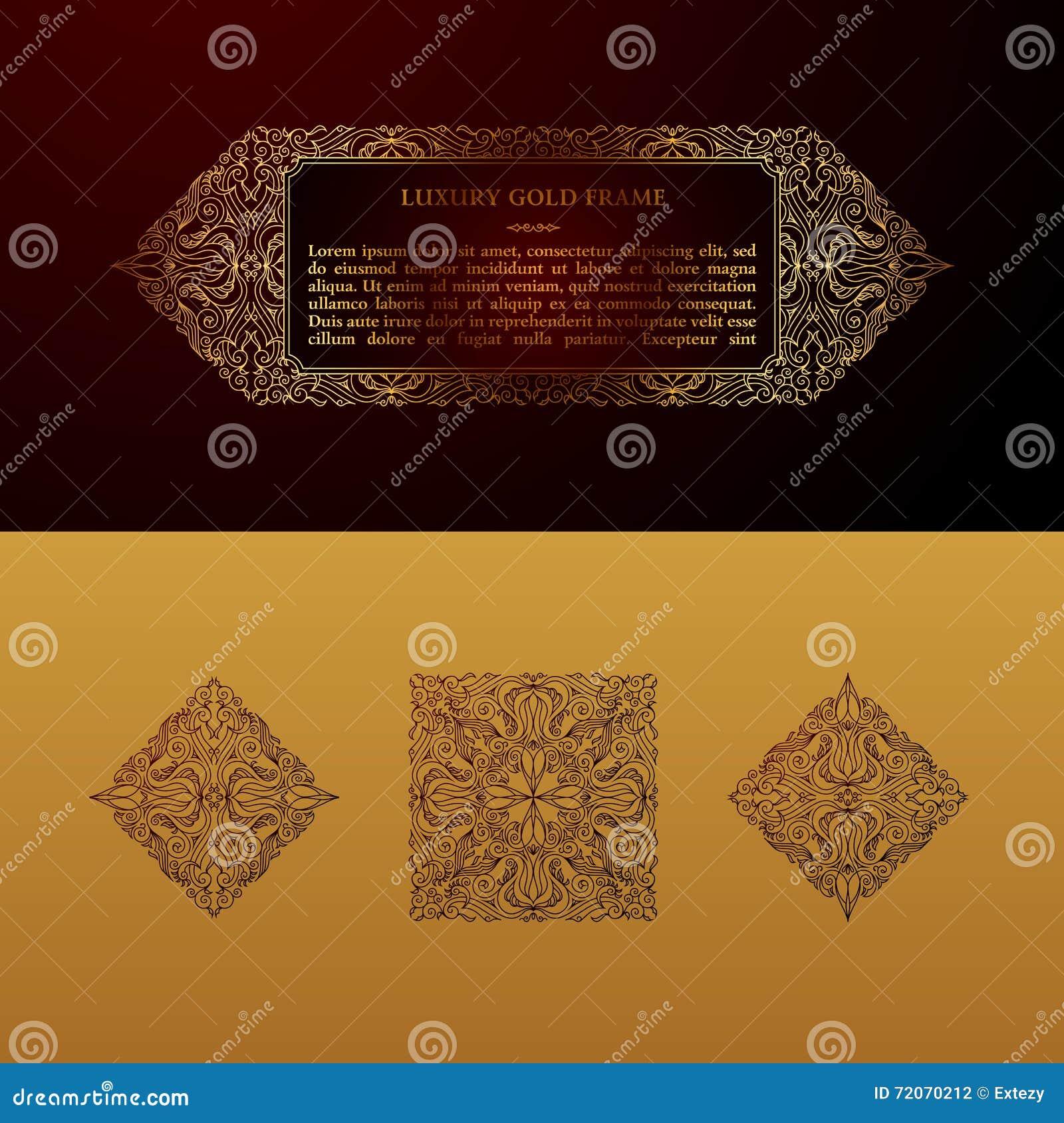 Líneas árabes Plantillas Del Vector Del Oro Del Este Del Diseño ...