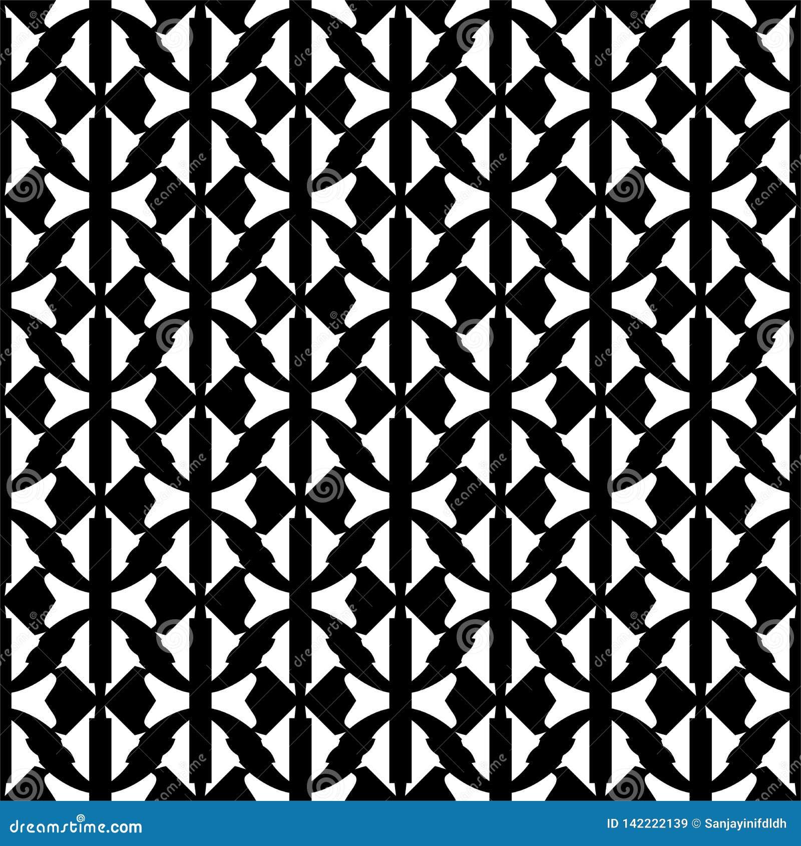 Líneas abstractas inconsútiles blancos y negros del vector, formas geomteric y modelo frondoso