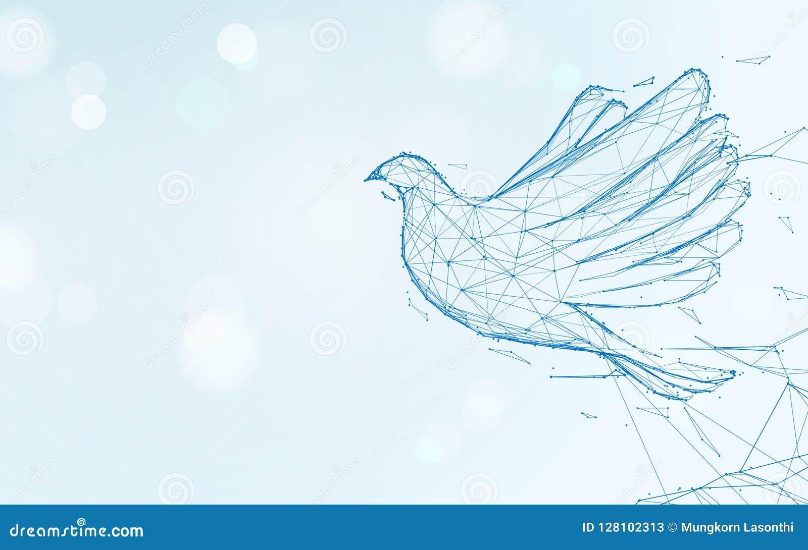 Líneas de la forma del vuelo de la paloma, triángulos y diseño del estilo de la partícula