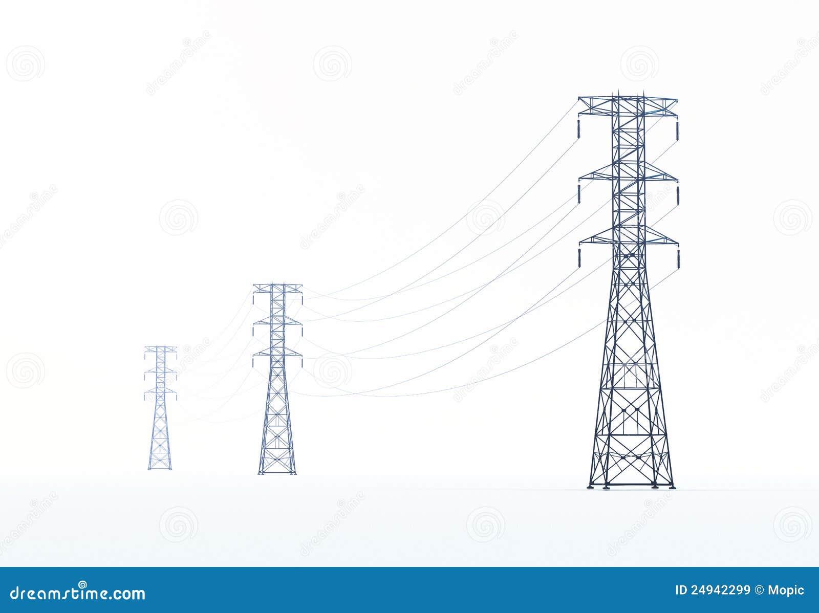 Líneas Eléctricas De Alto Voltaje Stock de ilustración - Ilustración ...