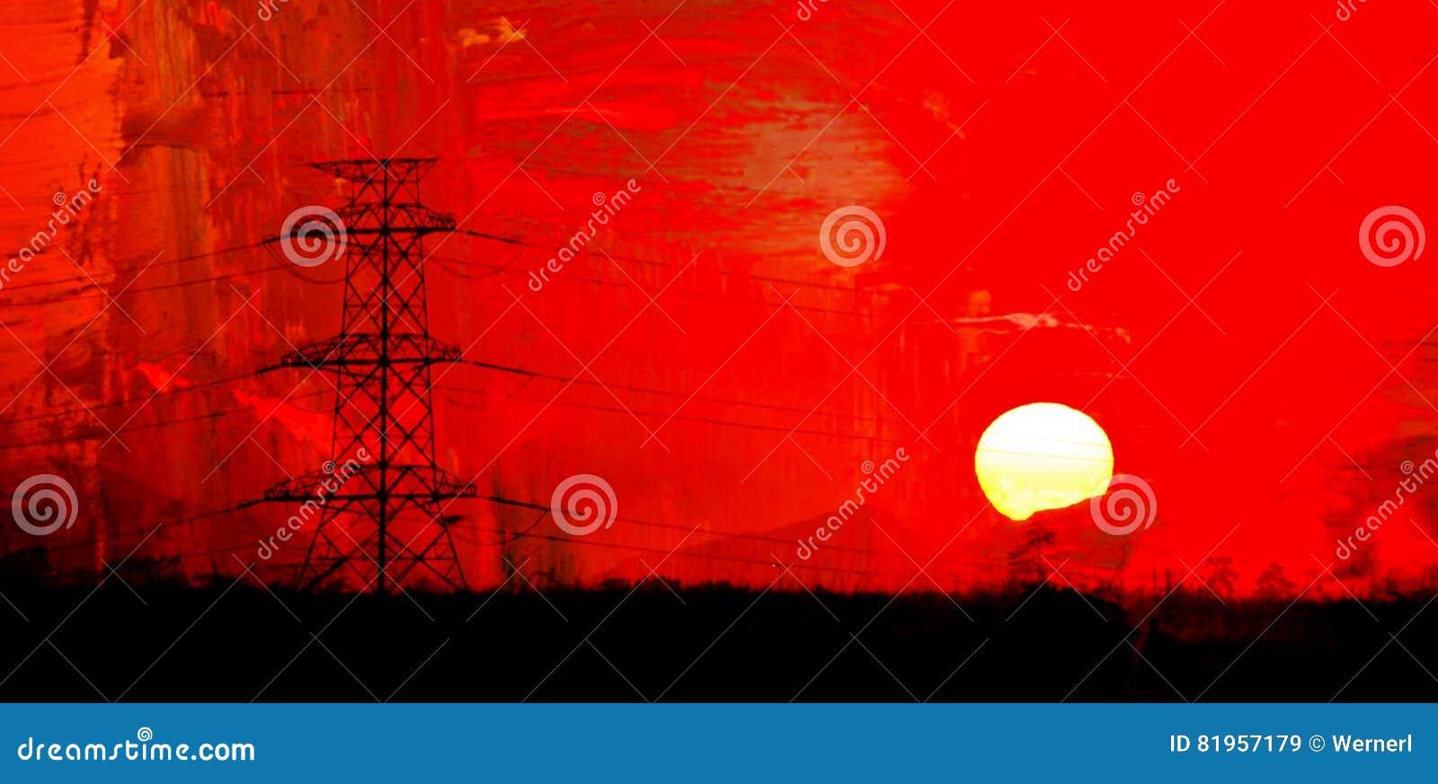 Líneas eléctricas en la salida del sol