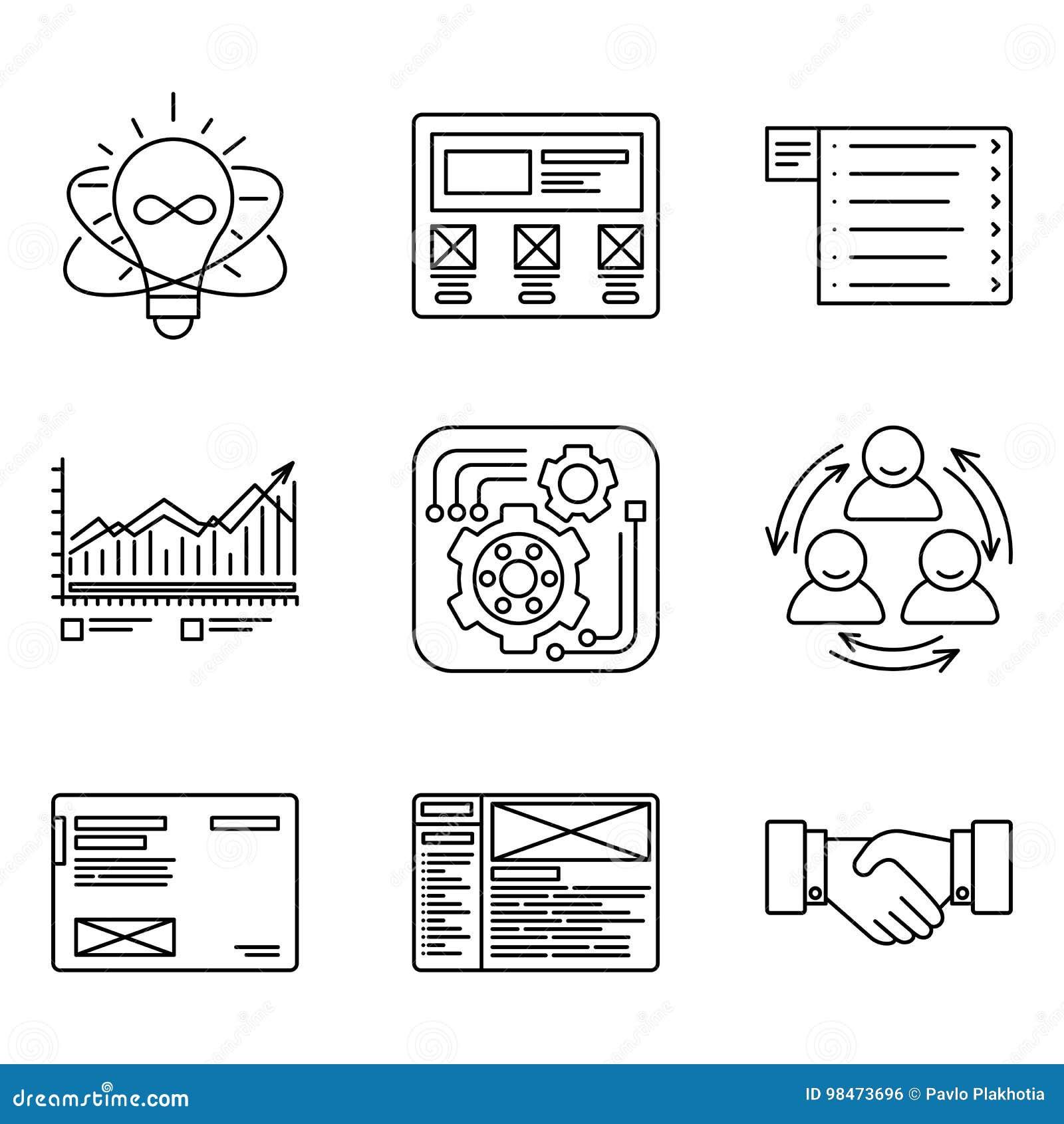 Líneas finas iconos fijados del proceso de desarrollo, de crear y de herramientas de la promoción, red del sitio web, equipo del