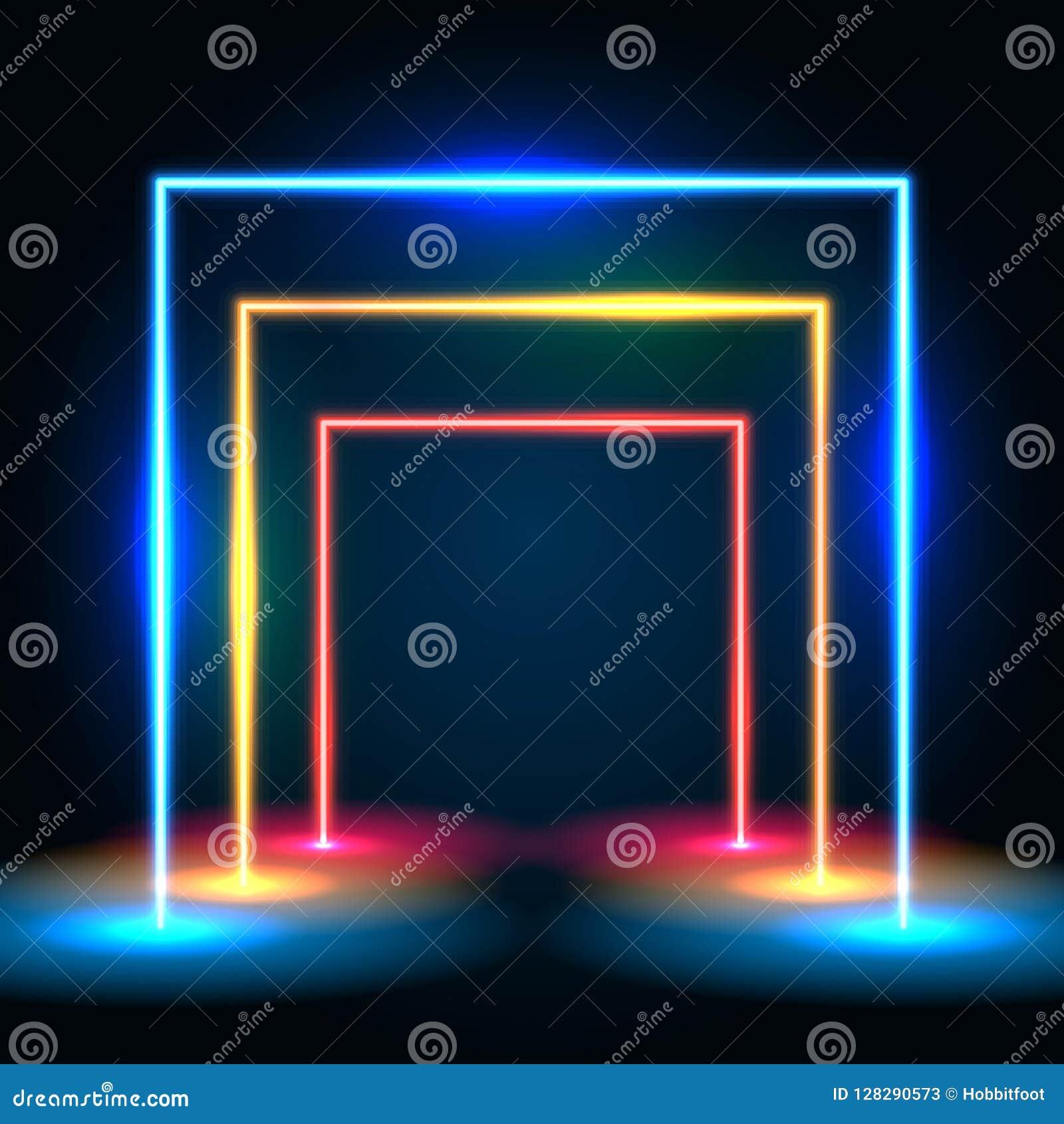 Líneas que brillan intensamente de neón fondo del extracto del túnel Concepto porta cuadrado