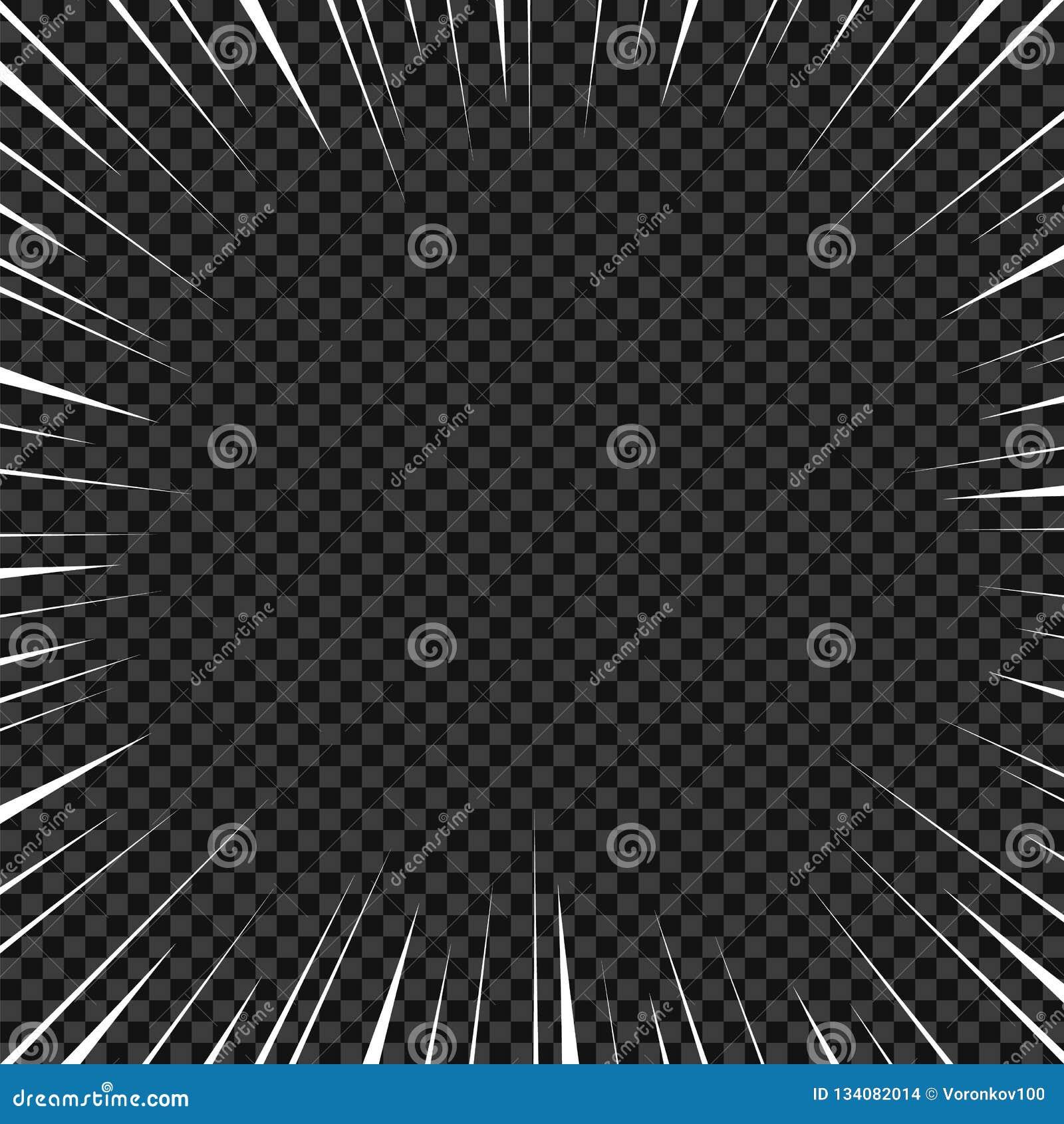 Líneas radiales blancas para los tebeos, acción del vector del super héroe Velocidad del marco de Manga, movimiento, fondo de la
