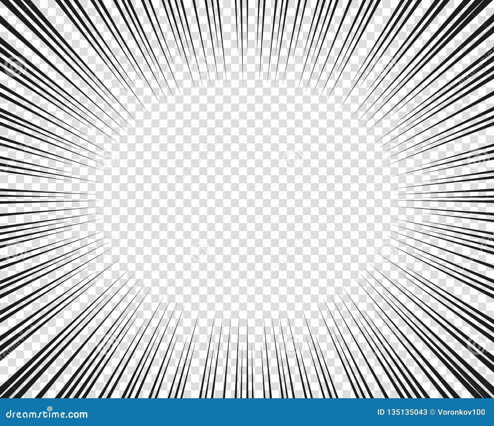 Líneas radiales del vector Concepto de velocidad, movimiento, color negro Manga de los elementos del diseño, historieta, tebeos F