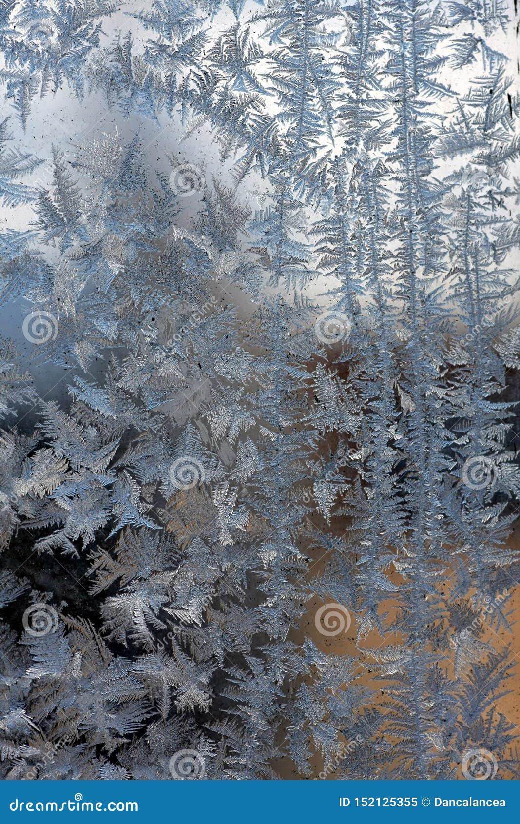 Lód kwitnie na okno zimie