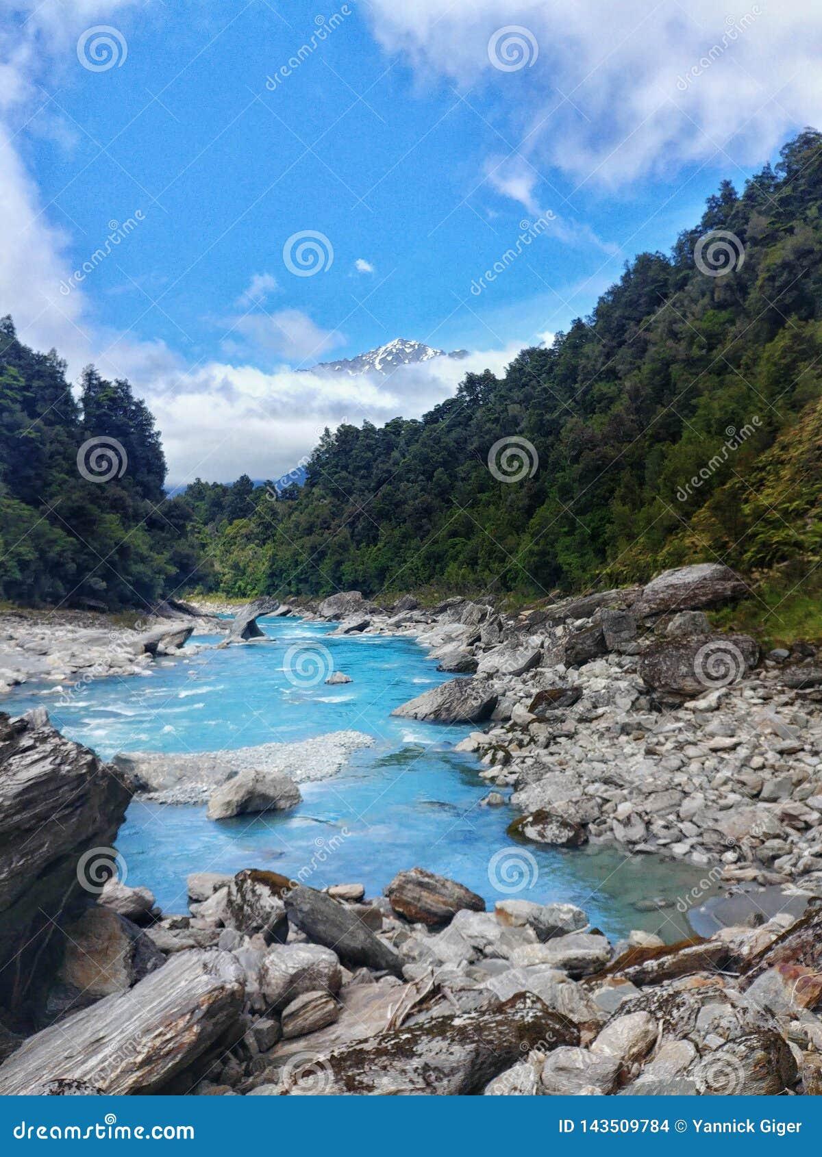 Lód - zimna rzeka przy Copland śladem, Nowa Zelandia